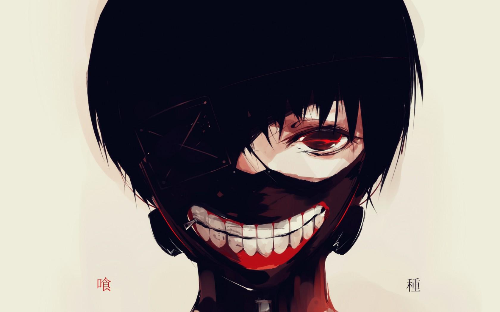 Fond d'écran : visage, noir, illustration, Anime, rouge ...