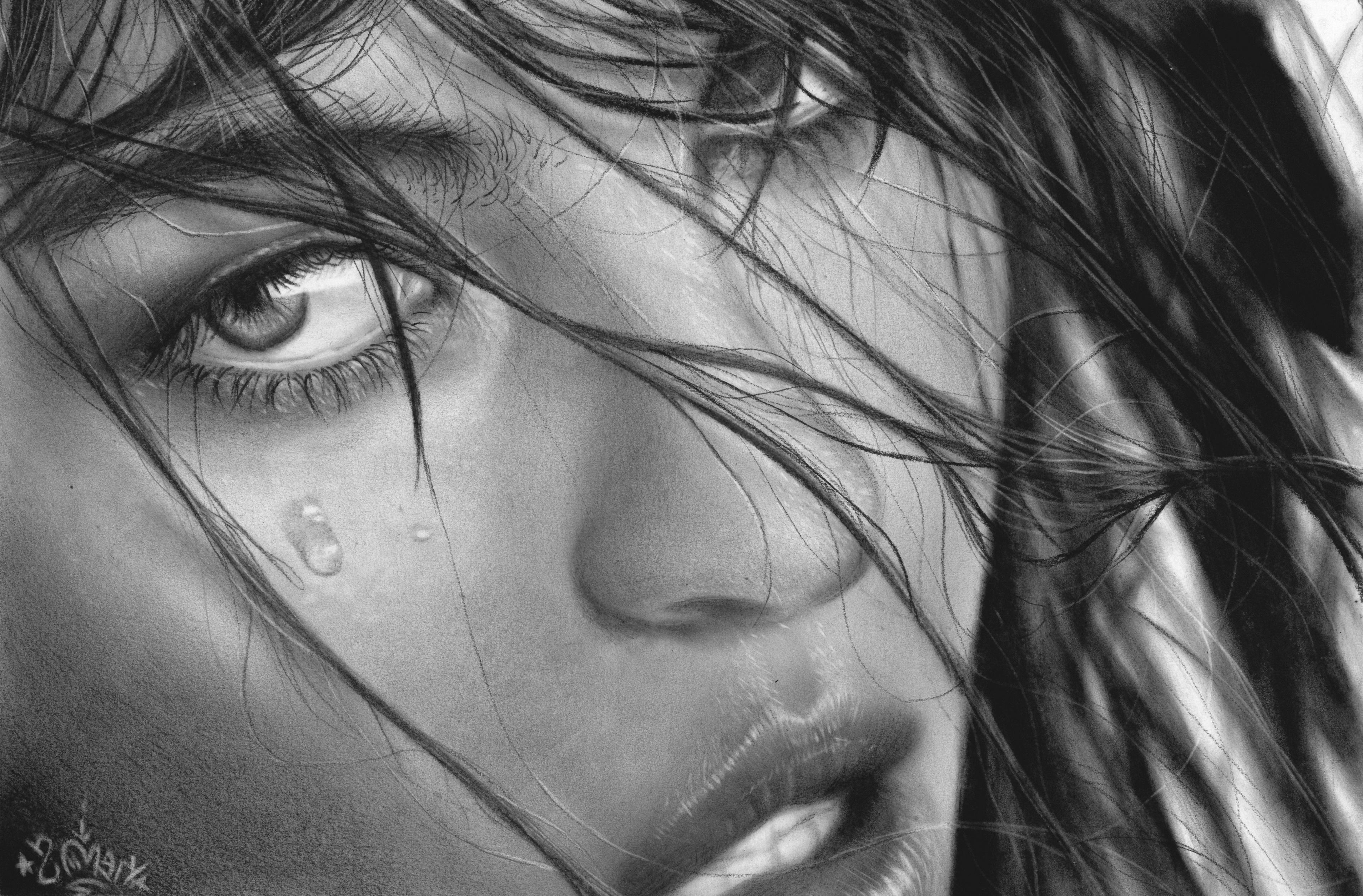 грустные черно белые картинки со слезами река