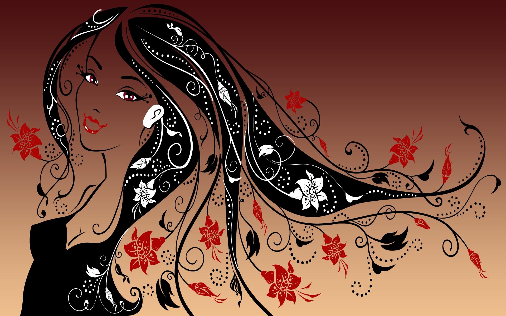 Картинки женские силуэты цветные