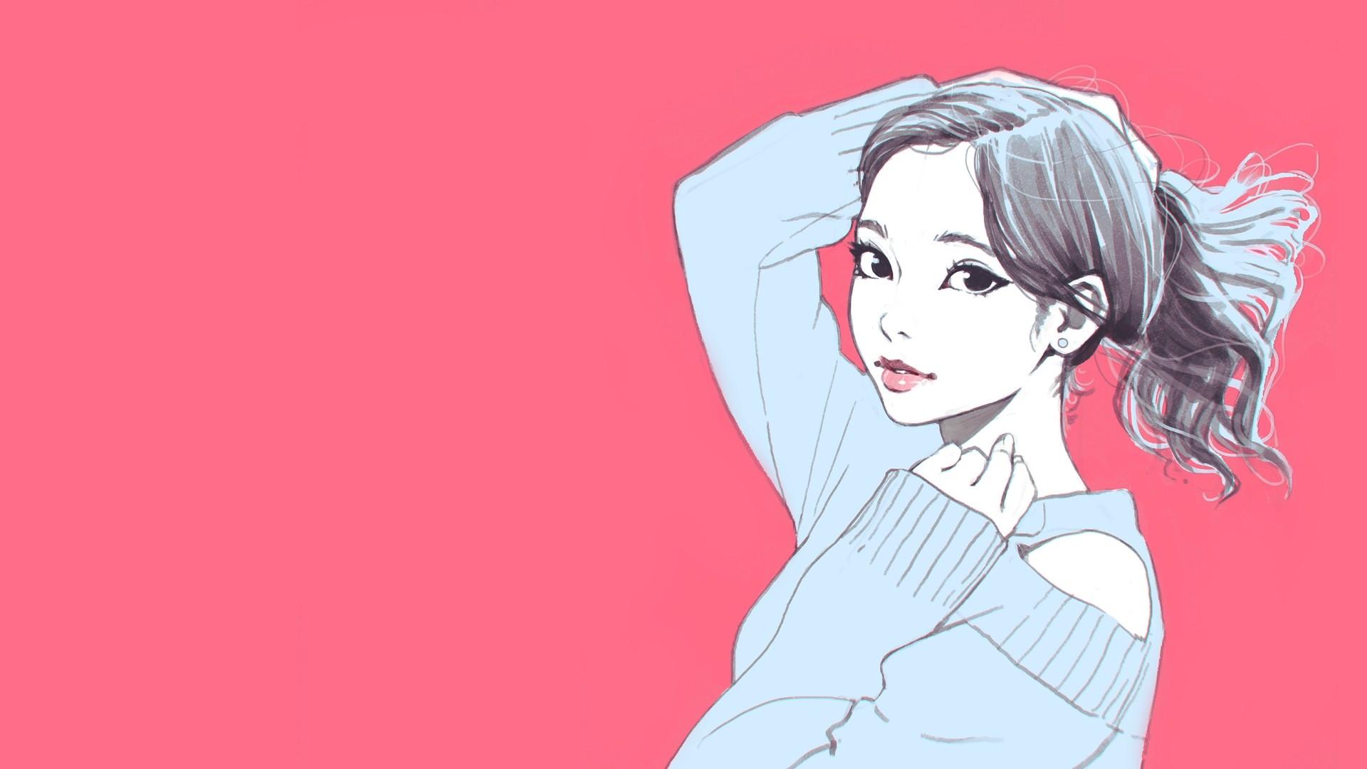 Wallpaper Face Drawing Digital Art Women Portrait Long Hair Anime Red Artwork Cartoon Black Hair Ilya Kuvshinov Mouth Nose Pink Emotion Happiness Skin Head Joint Art Cool Girl Beauty Smile Woman