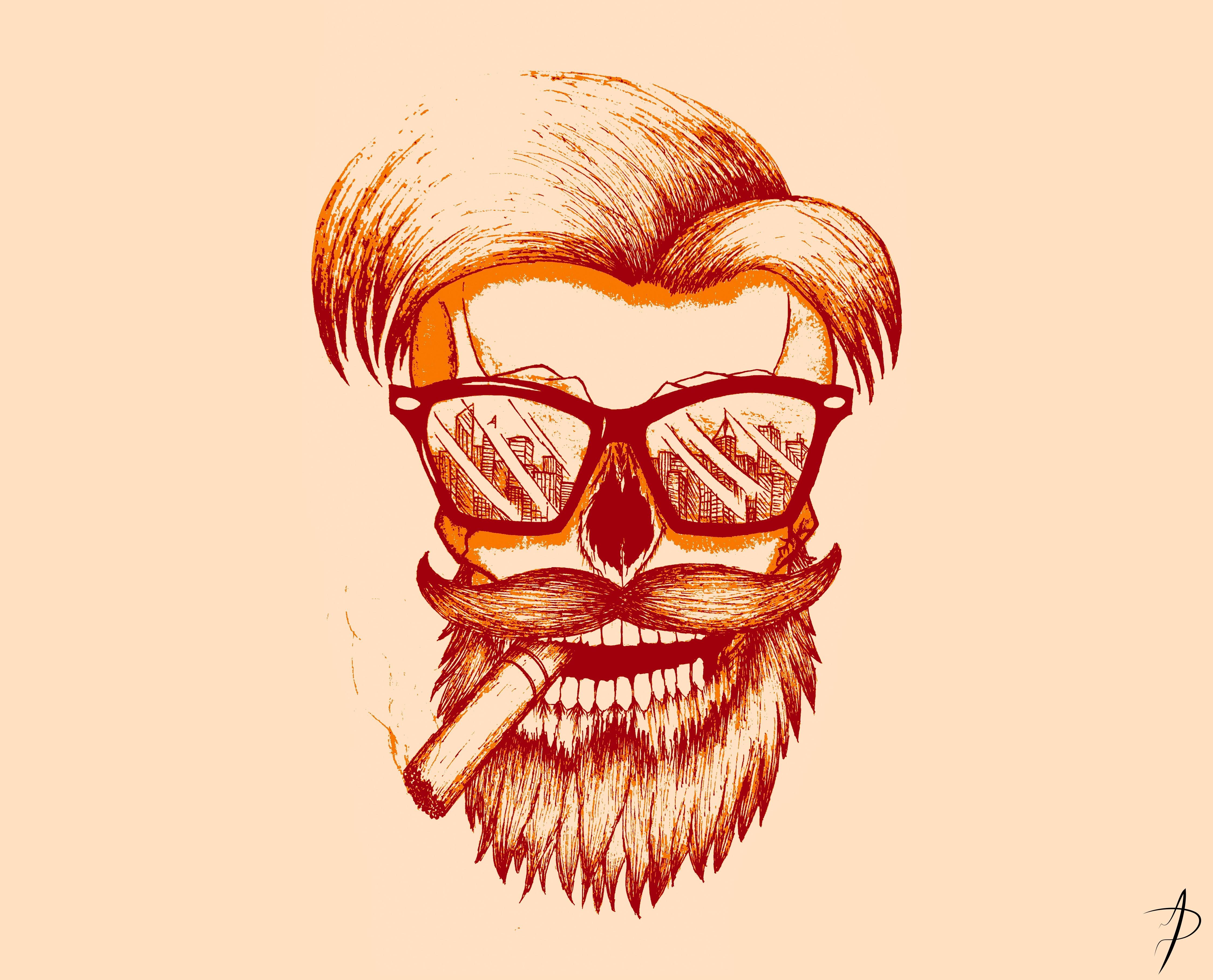 Wallpaper Face Drawing Illustration Glasses Cartoon Skull