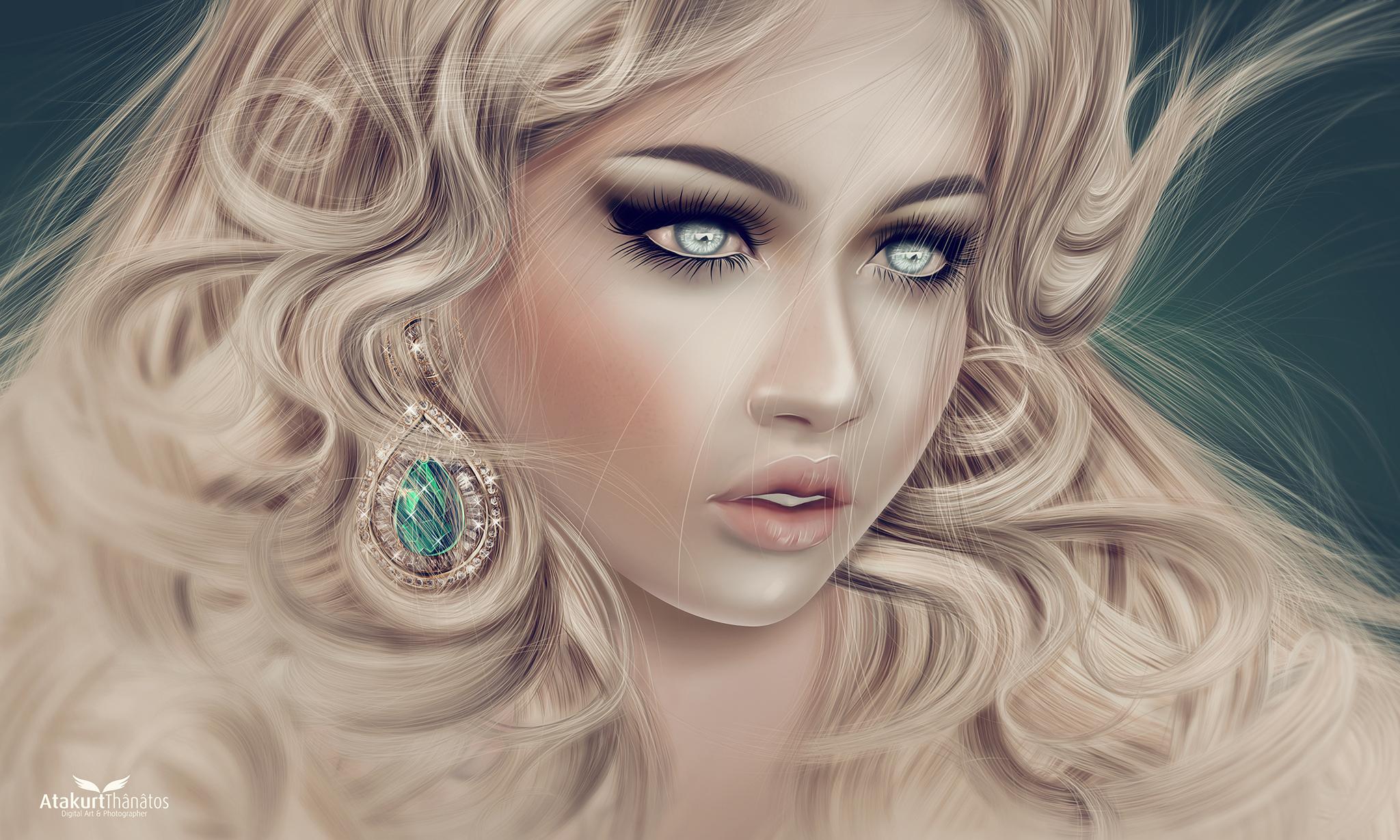 Wallpaper : face, drawing, illustration, model, long hair, blue