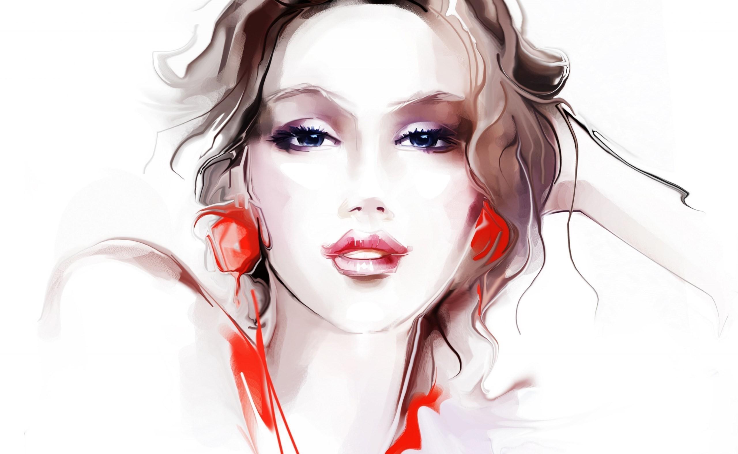 Wallpaper face drawing women artwork cartoon mouth - Cartoon girl images hd ...