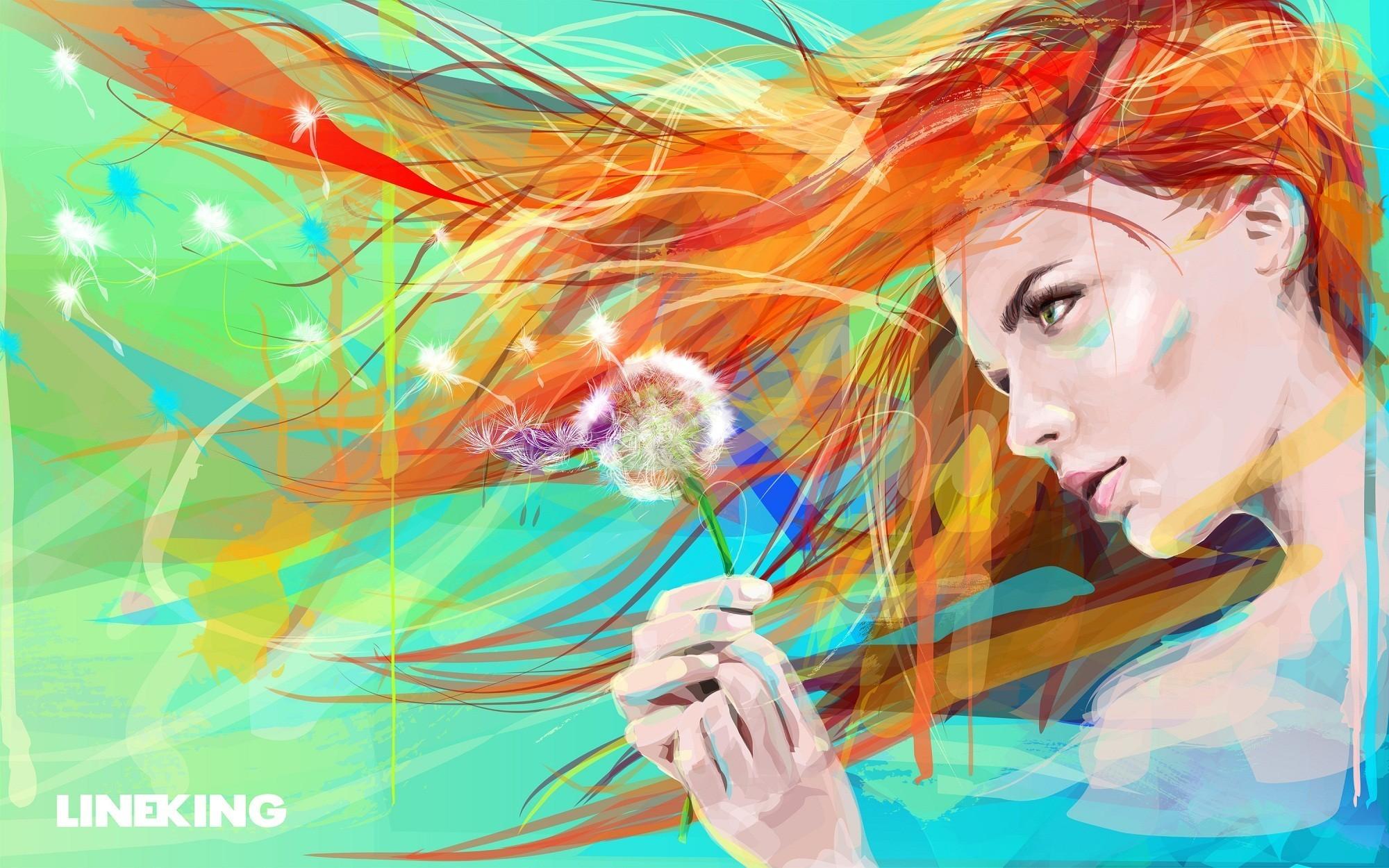 Wallpaper : Face, Drawing, Illustration, Women, Redhead