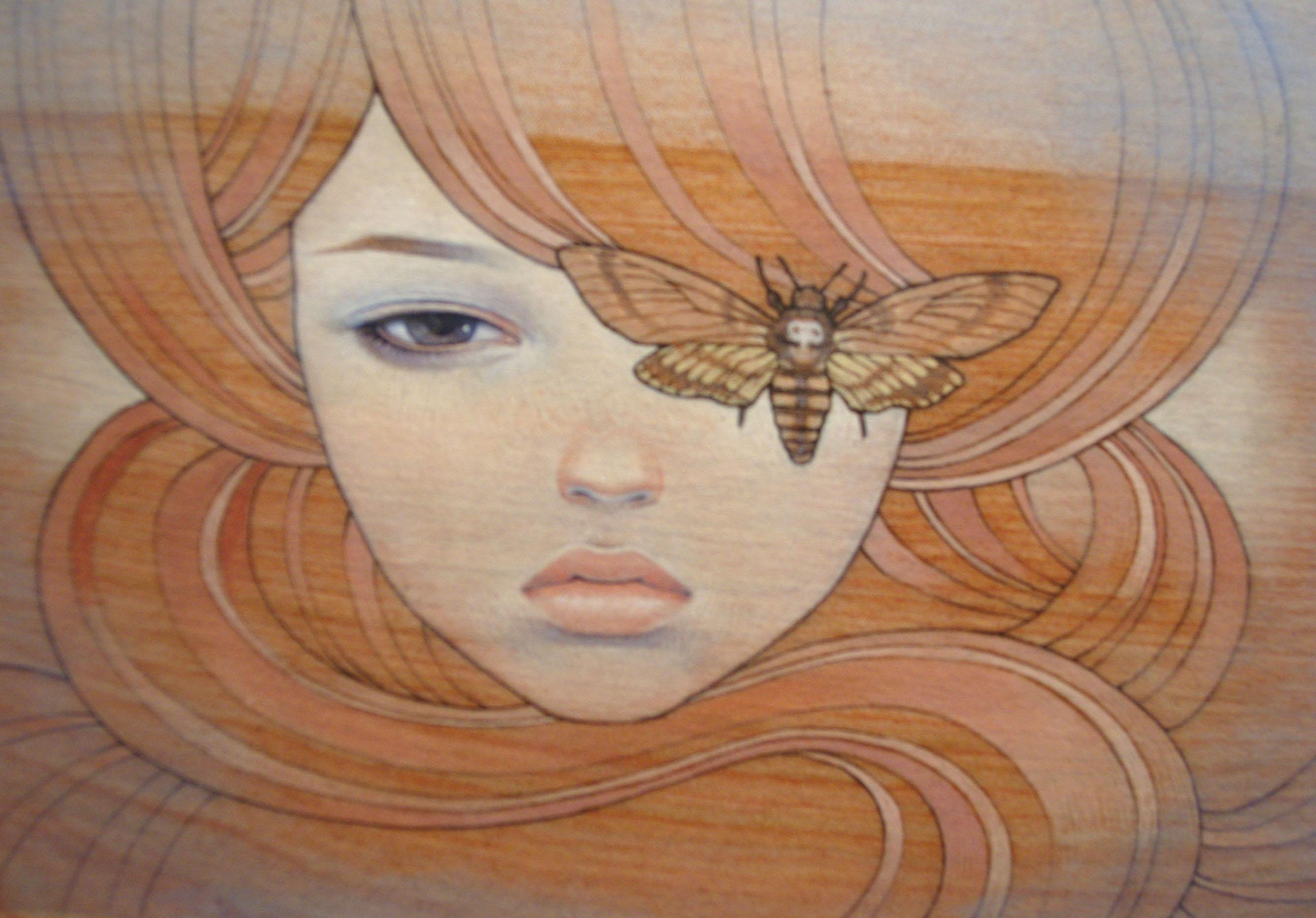 Wallpaper : face, drawing, painting, illustration, portrait, artwork, head, Japanese Art, ART, girl, artworks, modern art, fictional character, ...