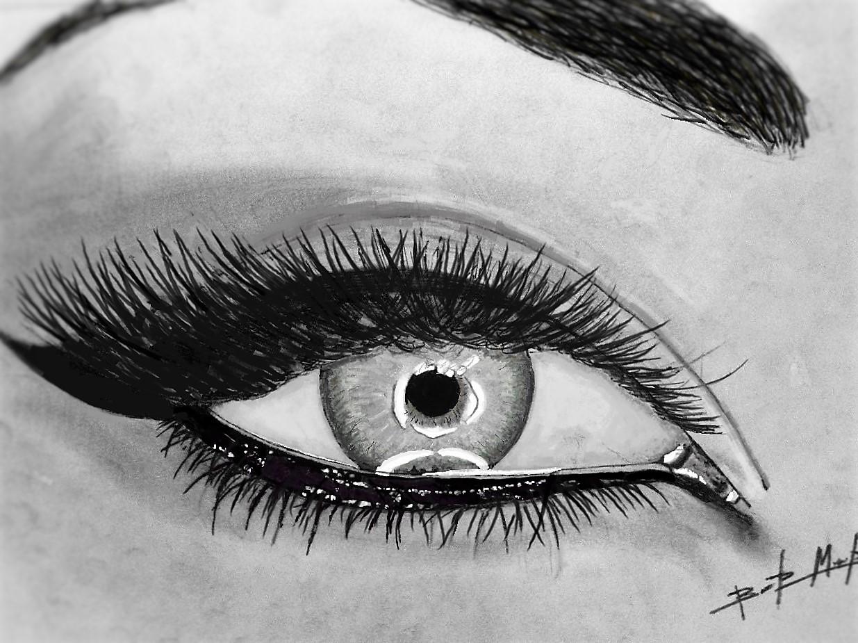 Глаза черно белые рисунки