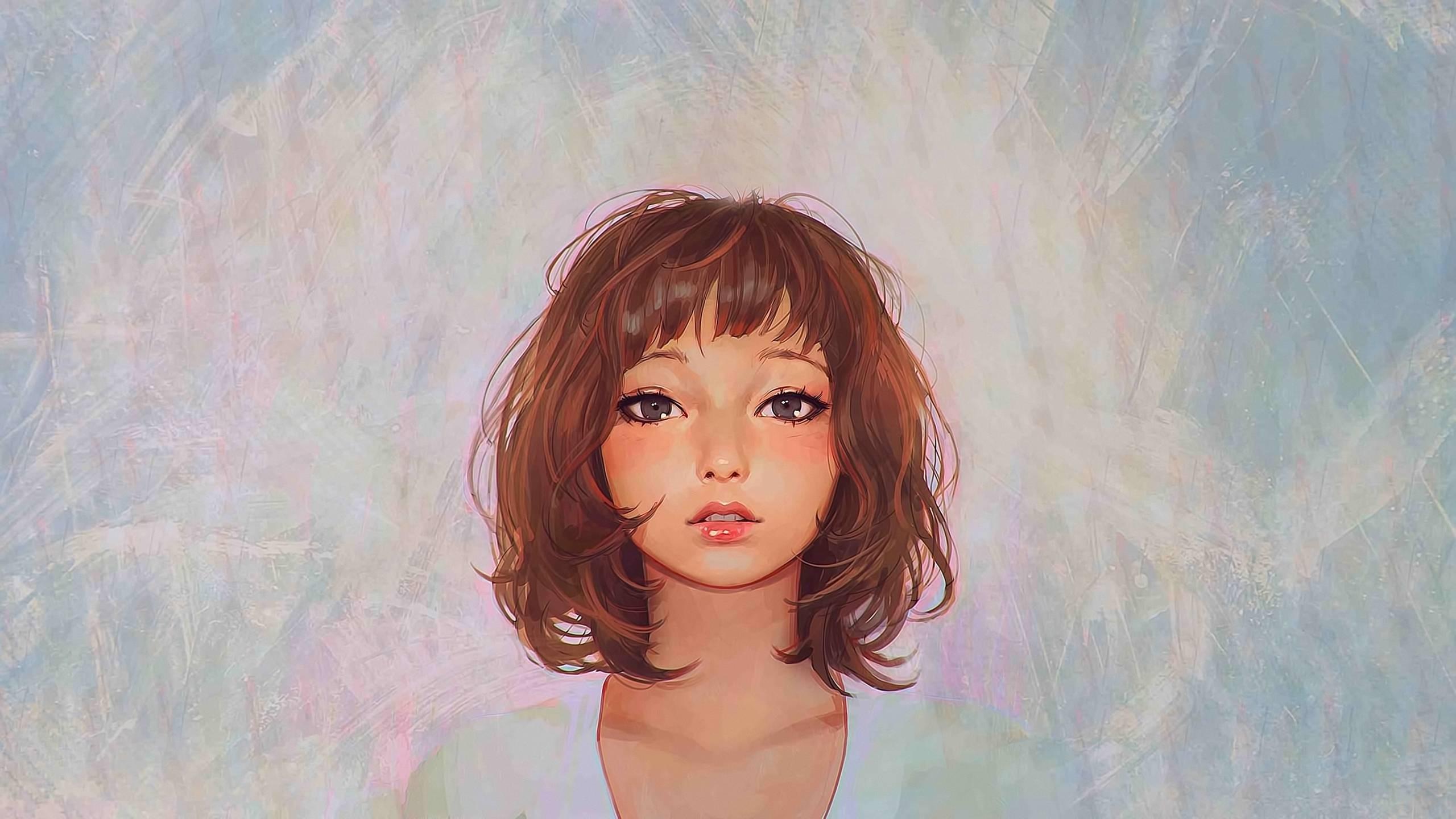 Wallpaper : face, drawing, women, model, portrait, eyes, long hair