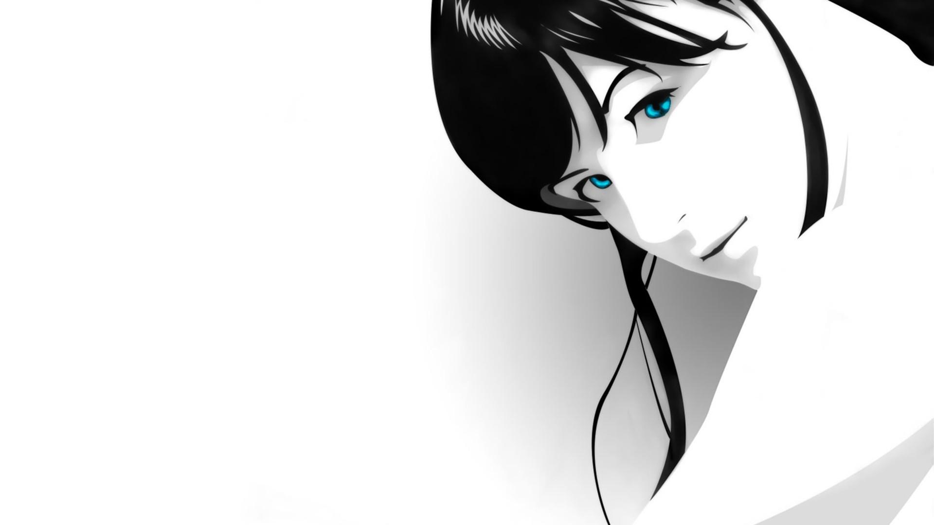 Fond D Ecran Visage Femmes Fond Simple Anime Yeux