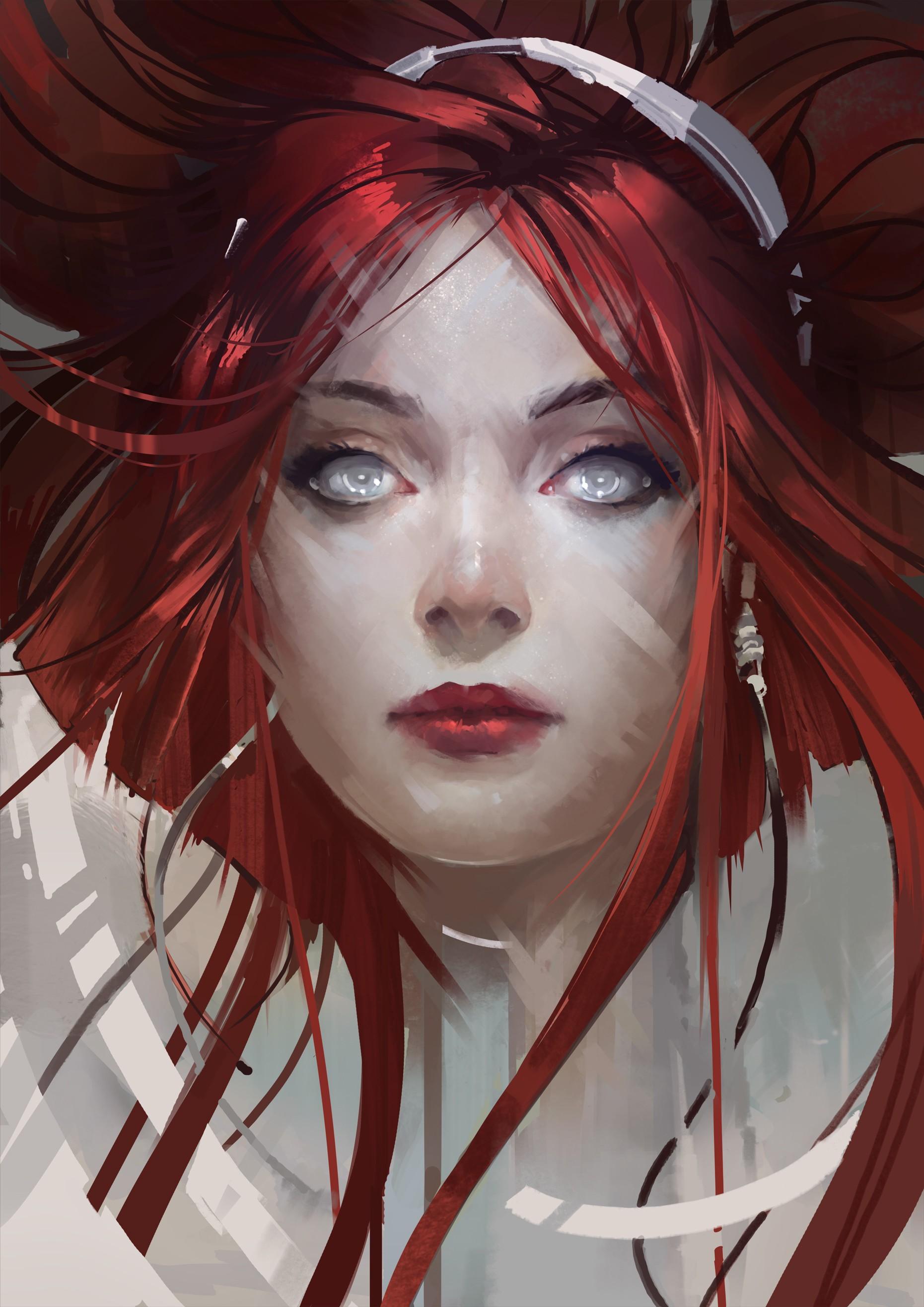 Wallpaper : face, illustration, anime girls, red, hair, 8D, fan