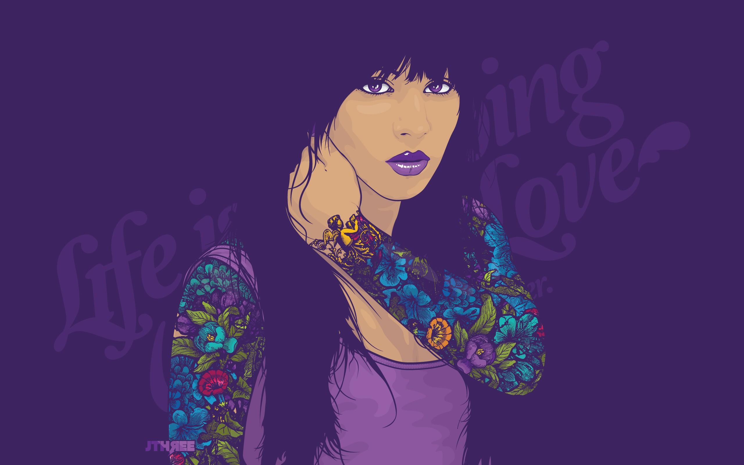 Wallpaper : Face, Illustration, Women, Anime, Purple