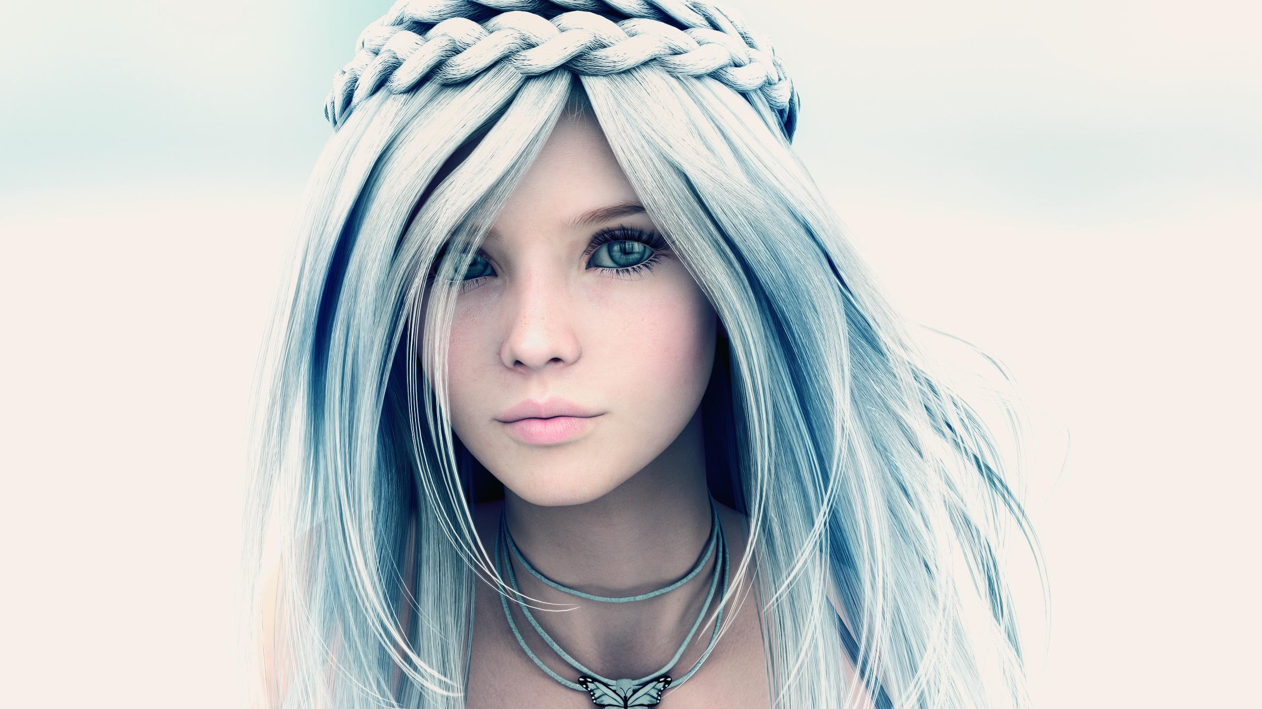 Wallpaper Face Model Long Hair 3d Blue Black Hair Clothing