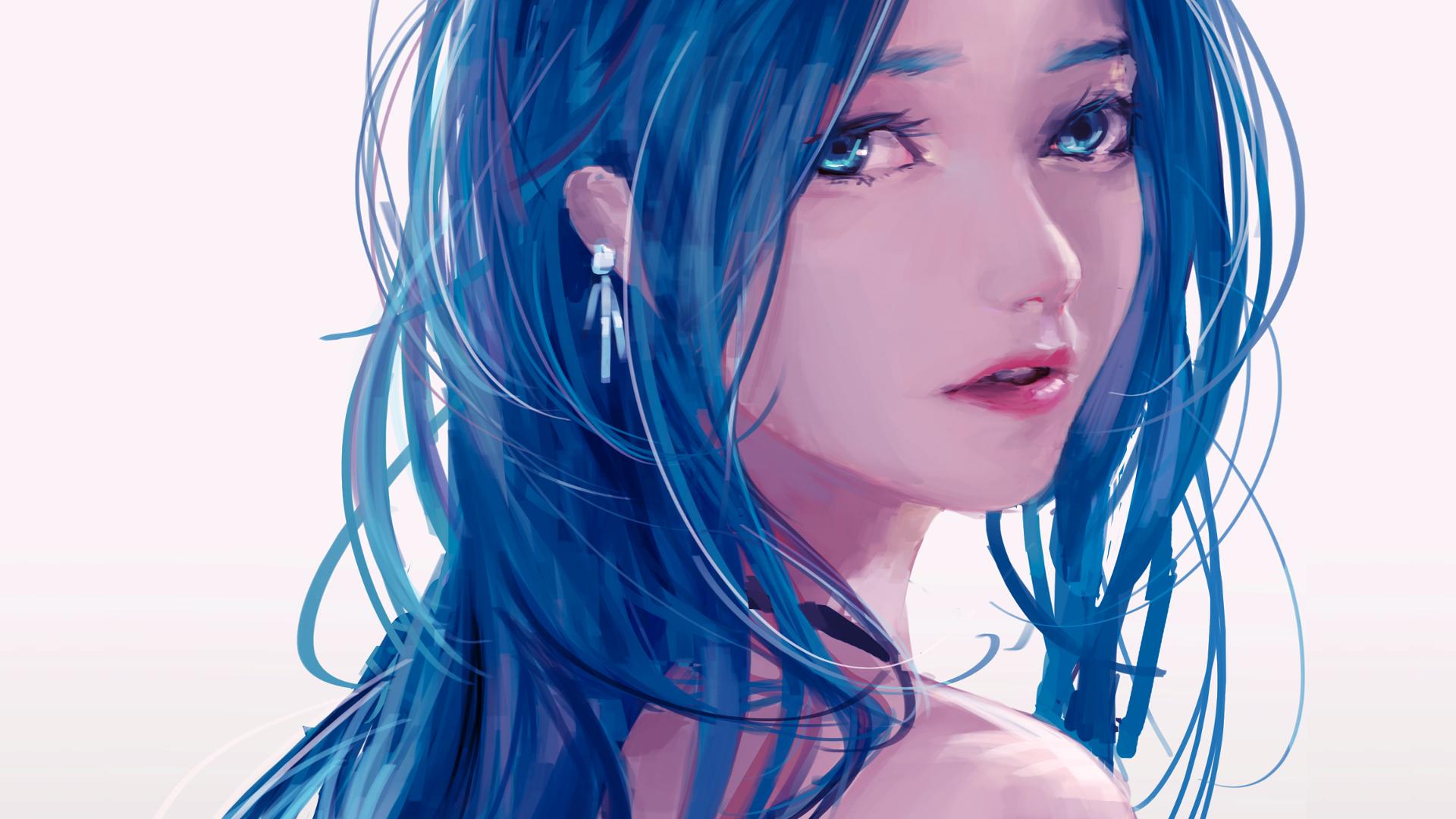 Hintergrundbilder Gesicht Modell Lange Haare Anime Blaue