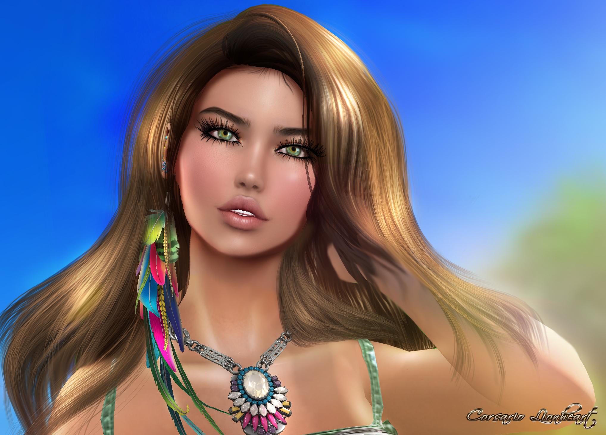 Wallpaper Face Model Long Hair Beach Black Hair Tropical