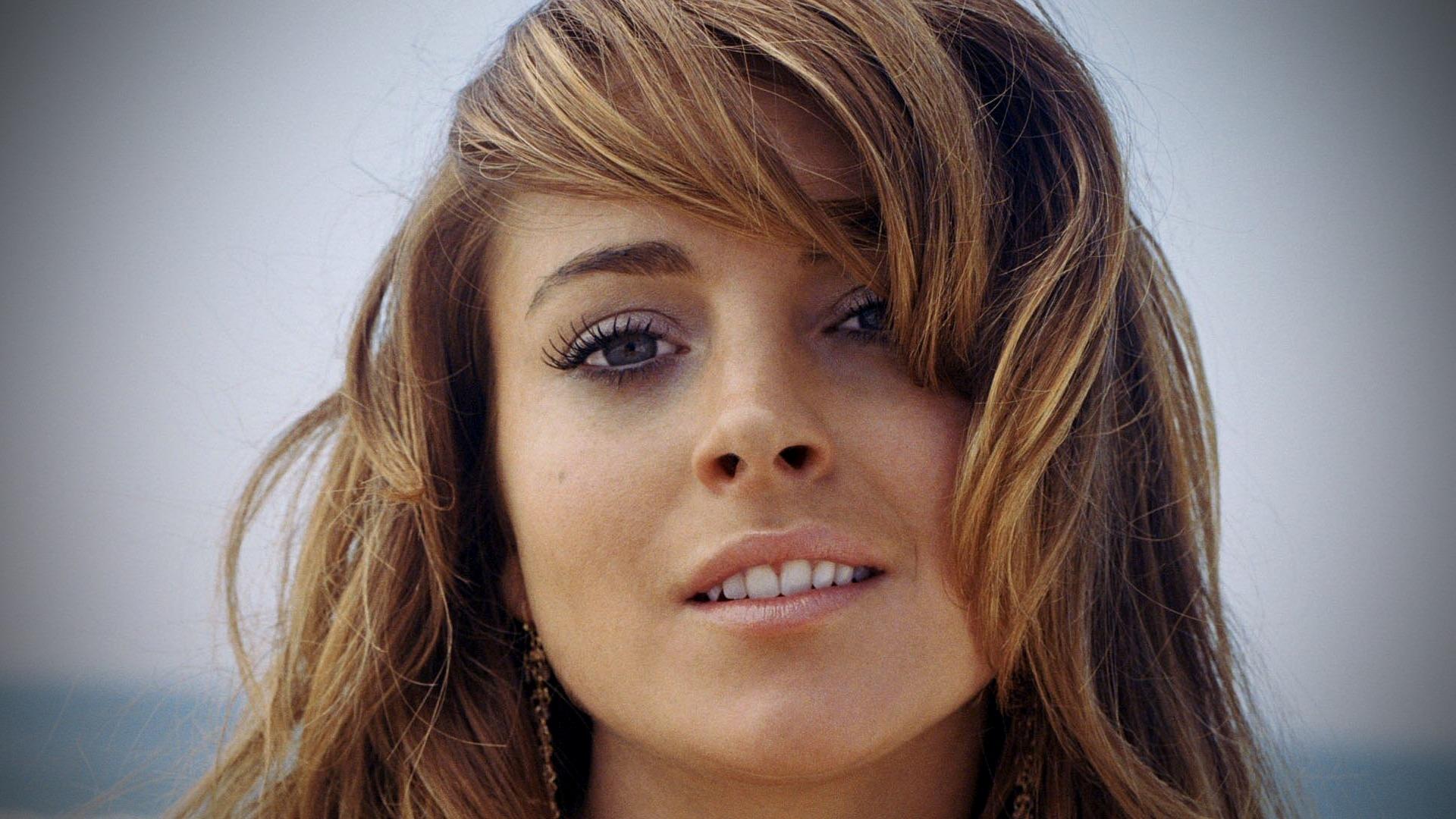 Wallpaper Face Model Long Hair Bangs Teeth Nose Lindsay