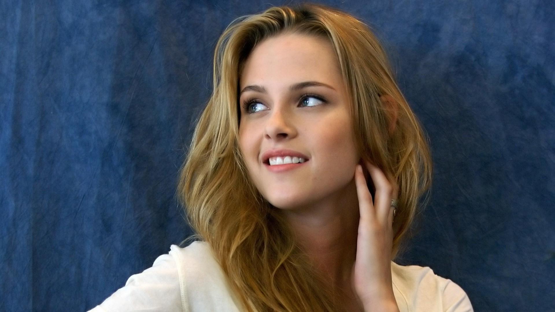 Wallpaper Face Long Hair Kristen Stewart Blue