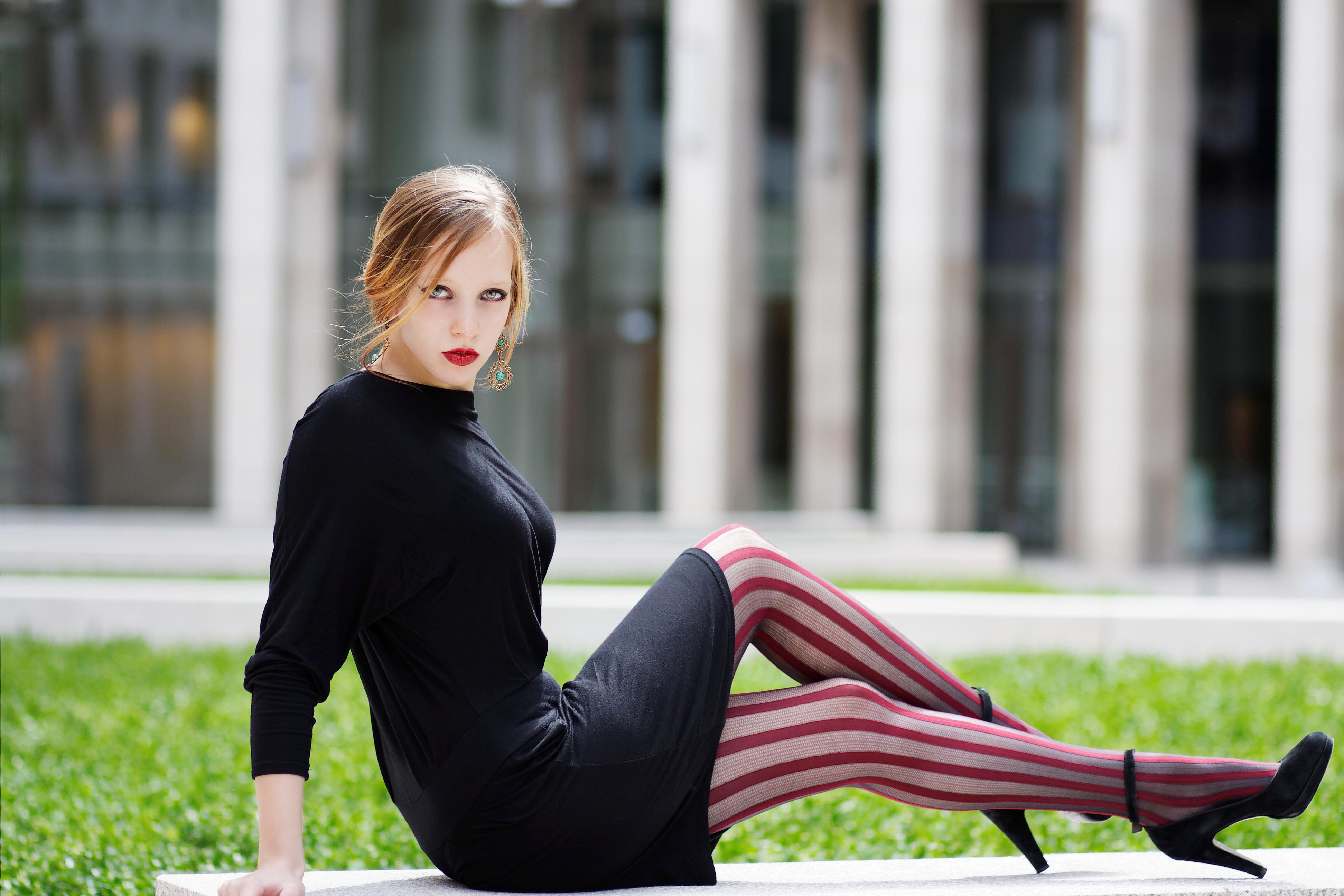Wallpaper  Face, Model, Sunset, Legs, Sitting, Dress -2405