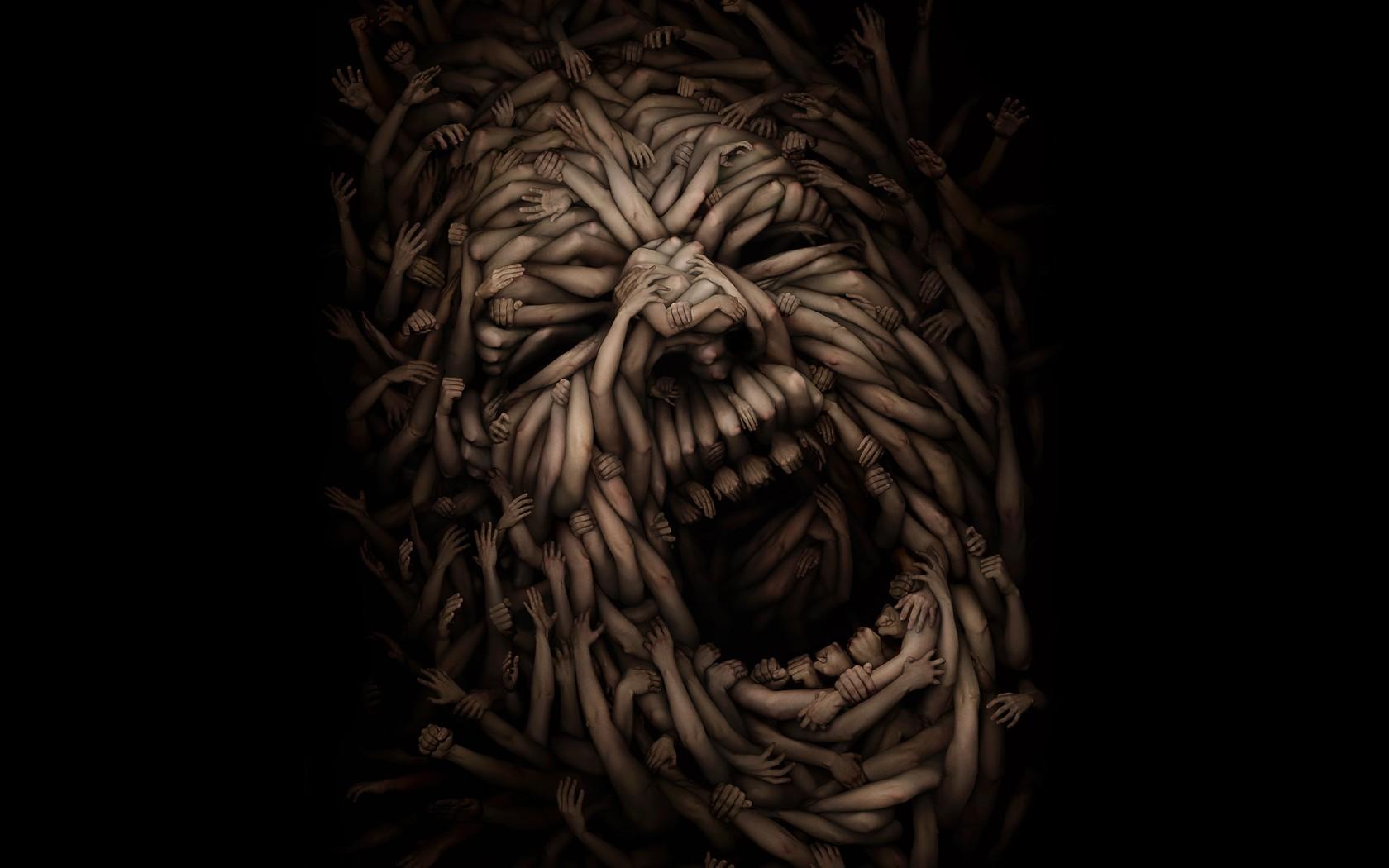 Wallpaper : Face, Hands, Horror, Artwork, Tiger, Sculpture