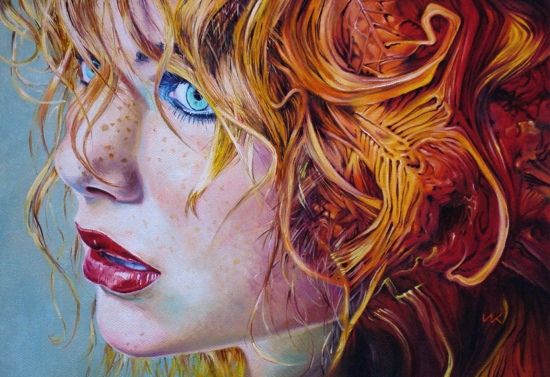 Masaüstü Yüz Boyama Illüstrasyon Kadınlar Kızıl Saçlı Portre