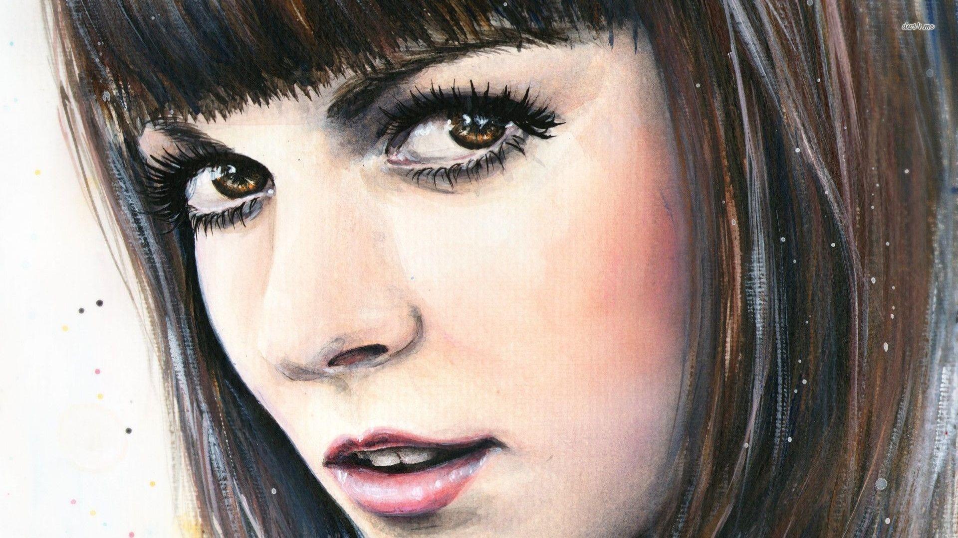 Masaüstü Yüz Boyama Portre Resim Siyah Saç Patlama Burun