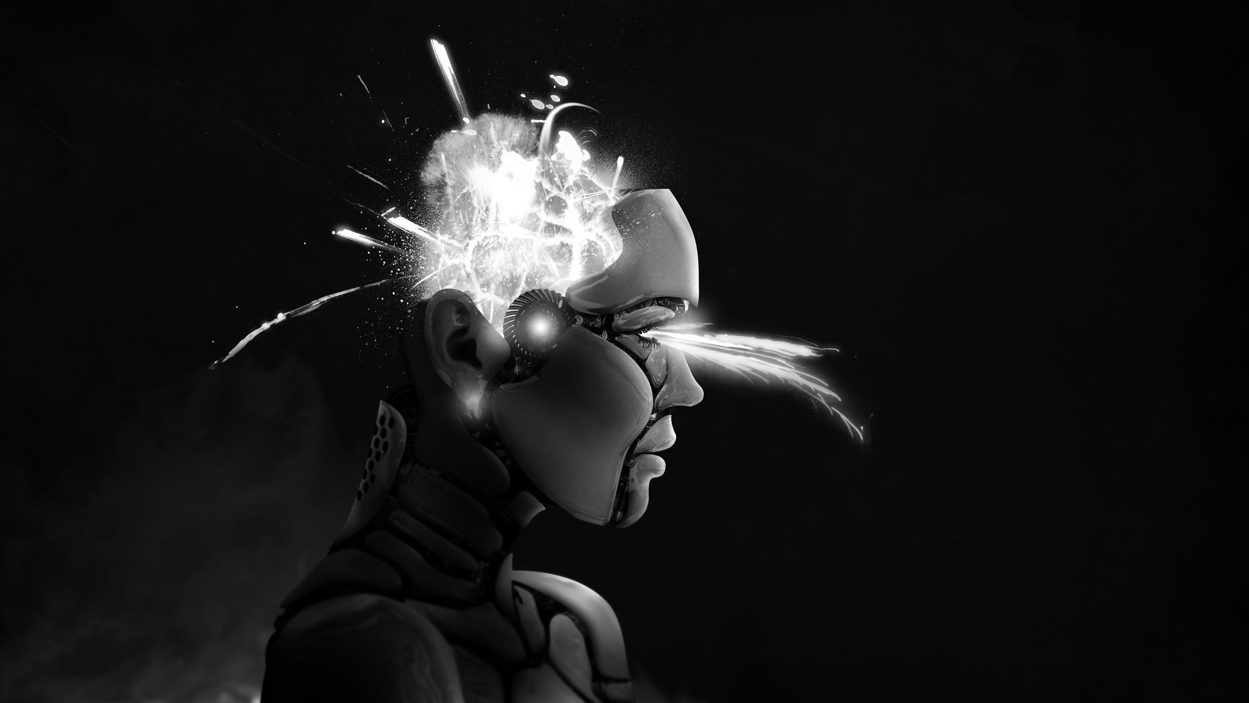 Wallpaper Face People Digital Art Simple Background Black Neon Robot Minimalism Artwork Profile Muscles Light Painting Head