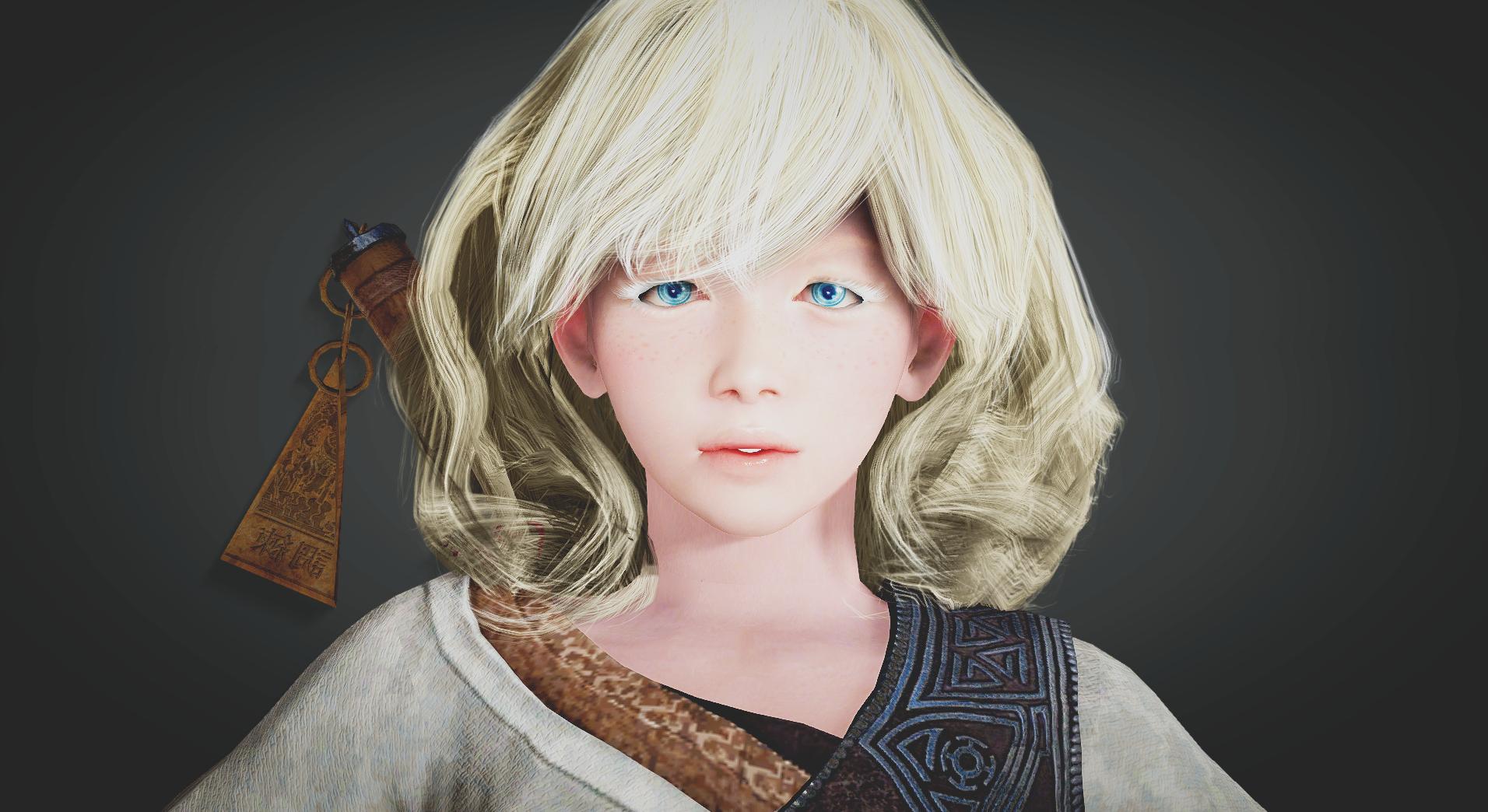 Face Video Games Model Portrait Long Hair Blue Eyes Black Desert Fashion  Hair Toy Light Hair