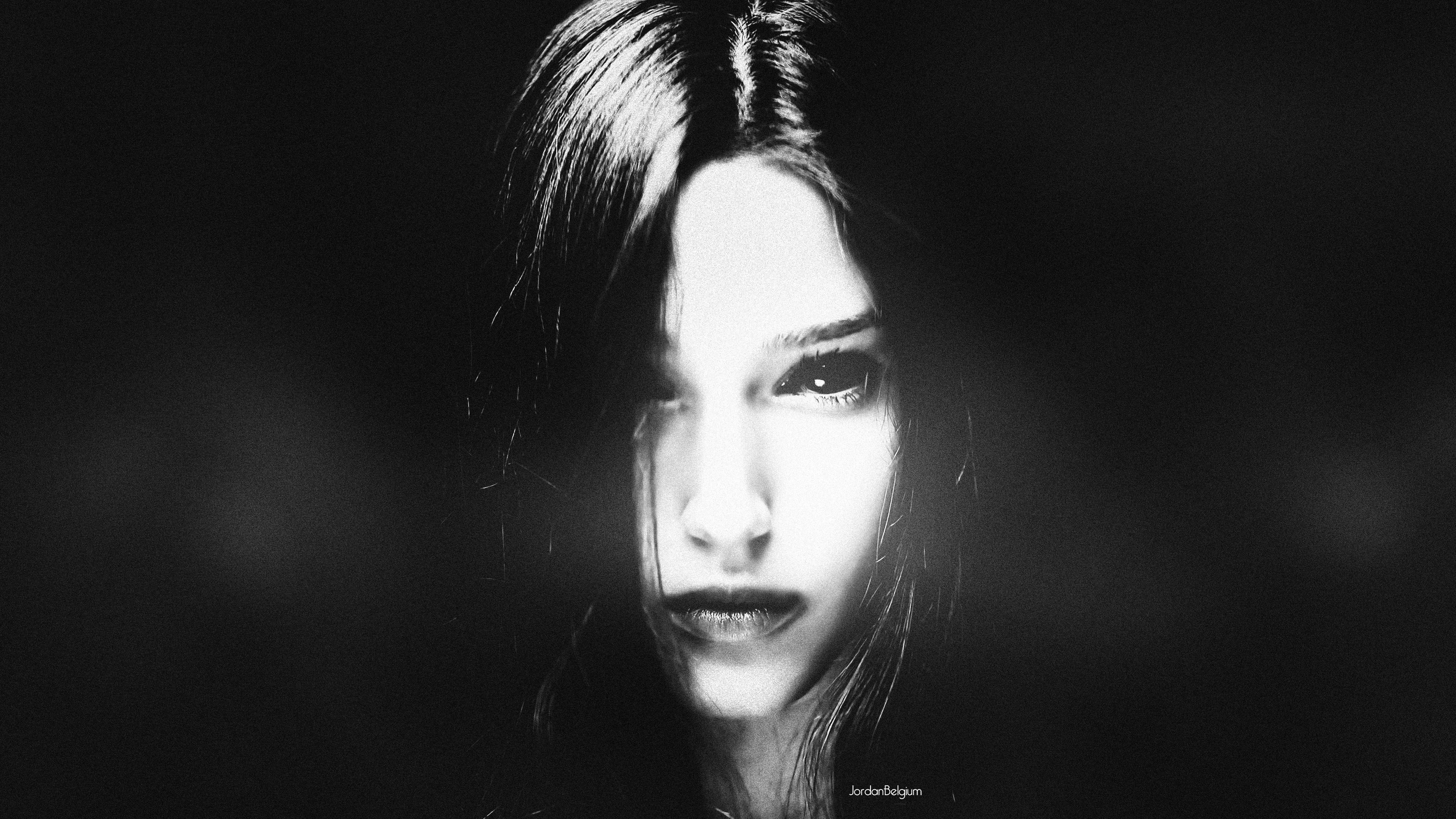Wallpaper face photoshop women model simple background horror