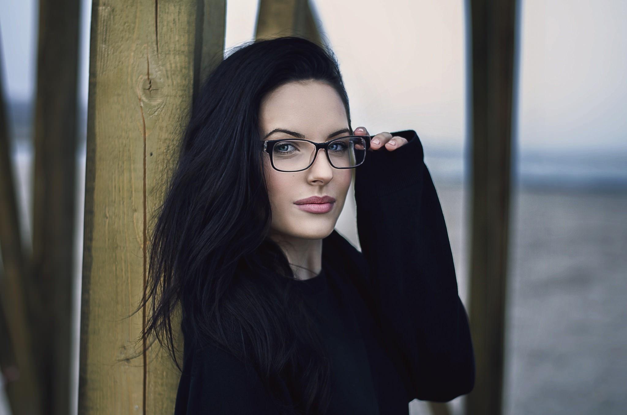 Wallpaper : Face, White, Black, Model, Women With Glasses