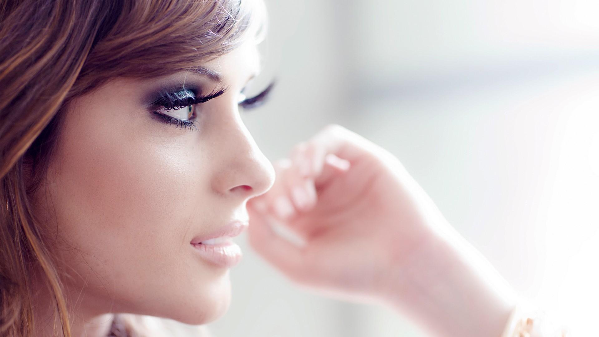 Wallpaper Face White Women Model Hands Glasses Makeup Mouth
