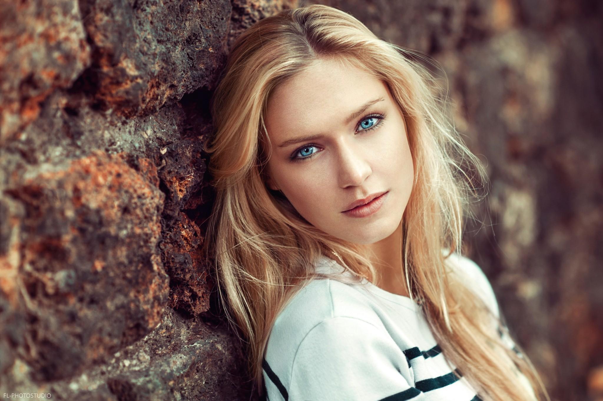 Wallpaper face women blonde depth of field long hair blue eyes looking at viewer eva - Beautiful model wallpaper ...