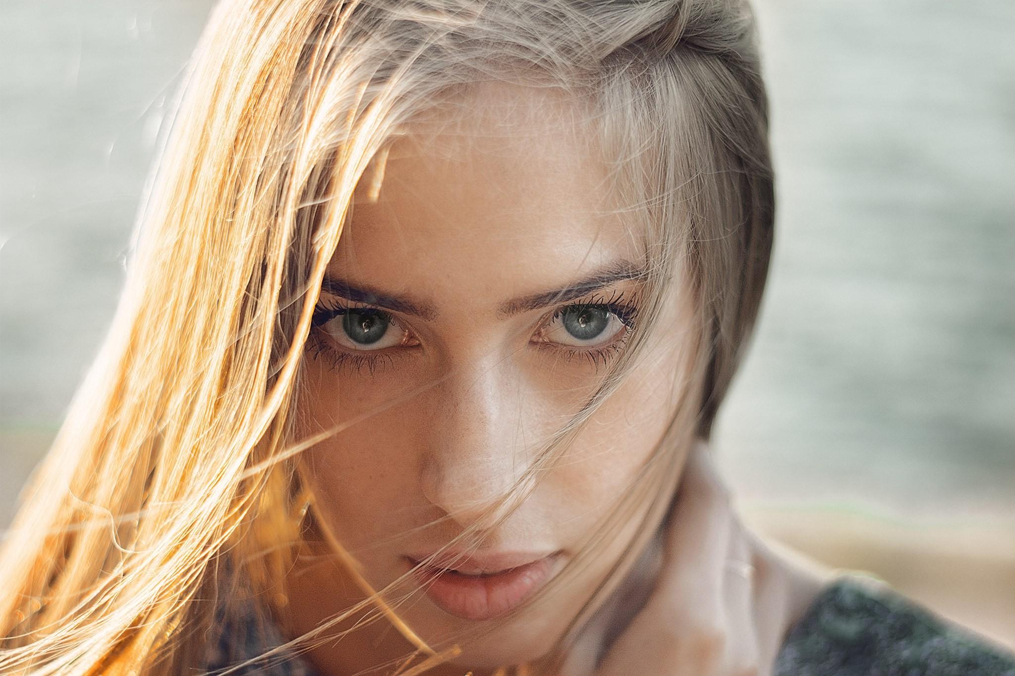 Wallpaper Face Women Model Nose Rings Long Hair: Wallpaper : Face, Women, Blonde, Depth Of Field, Long Hair