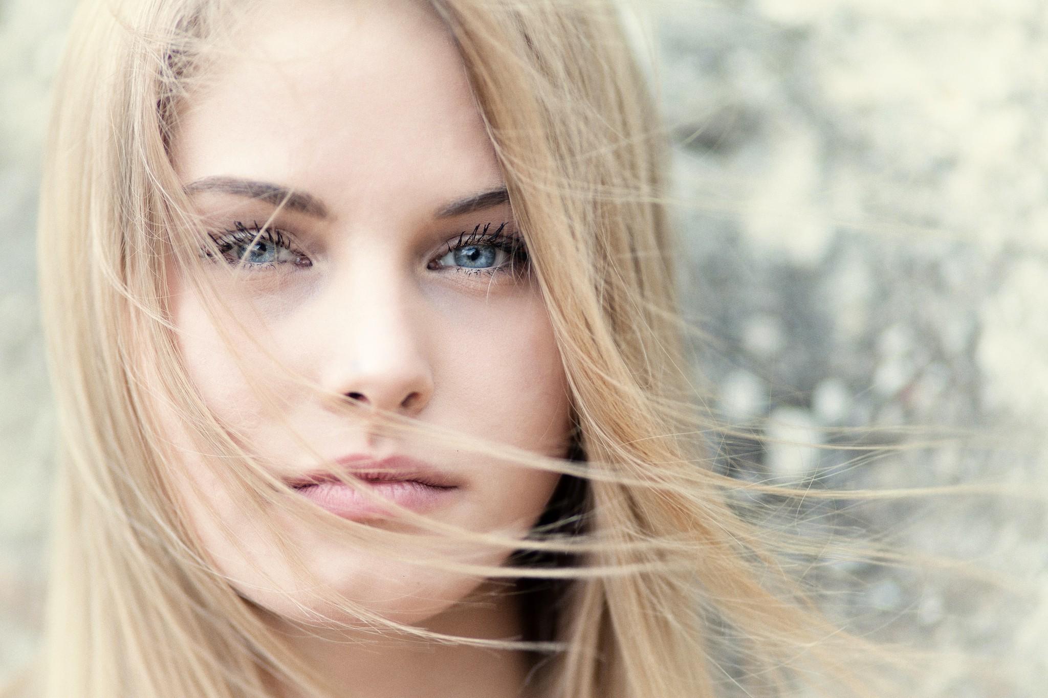 Wallpaper Face Model Blonde Long Hair Blue Eyes: Wallpaper : Face, Women, Model, Blonde, Eyes, Long Hair