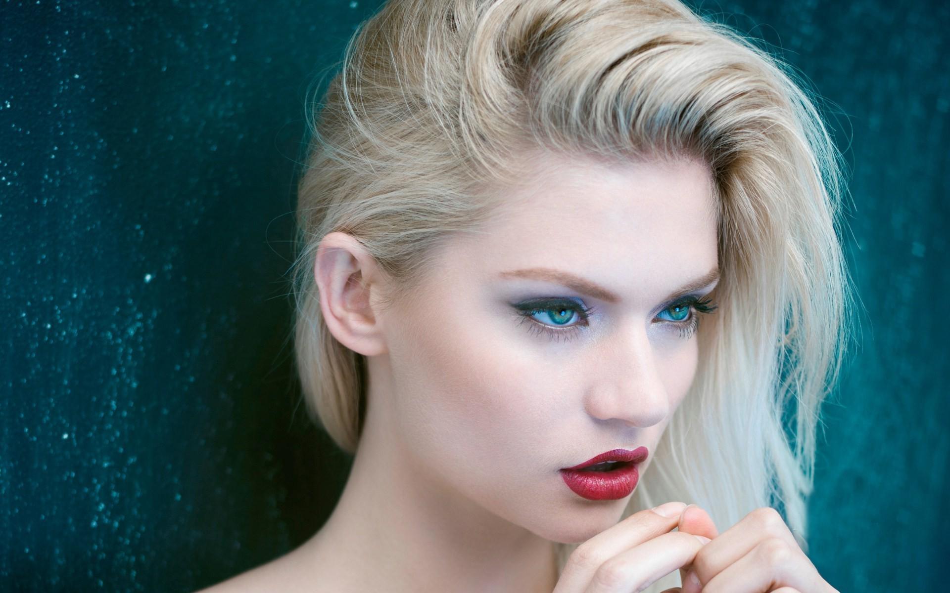 Wallpaper Face Women Model Blonde Long Hair Blue: Wallpaper : Face, Women, Model, Blonde, Long Hair, Blue