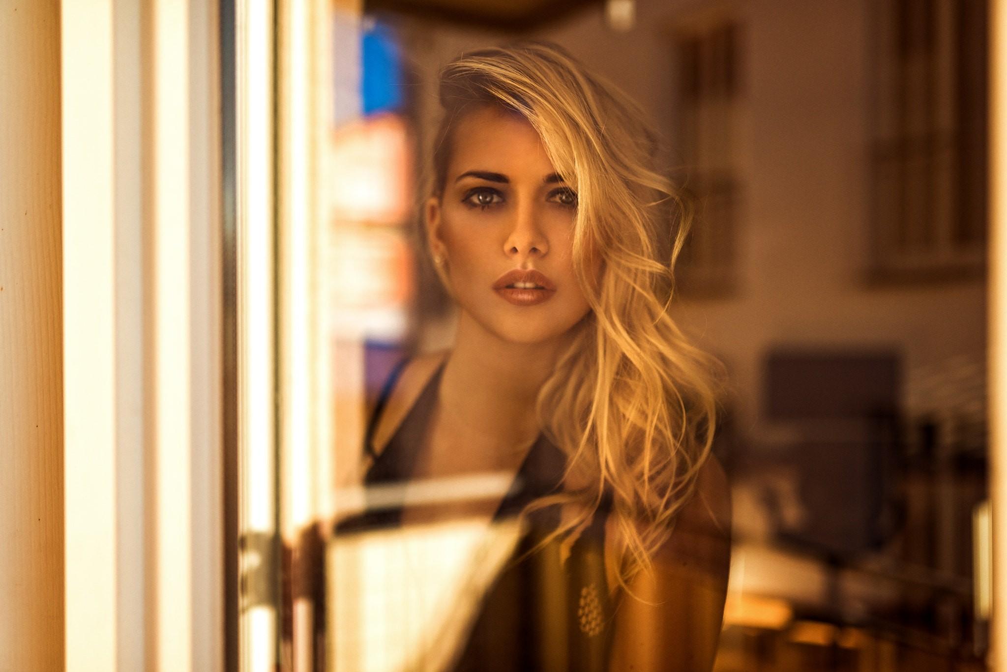 Fond décran : visage, femmes, maquette, blond, cheveux