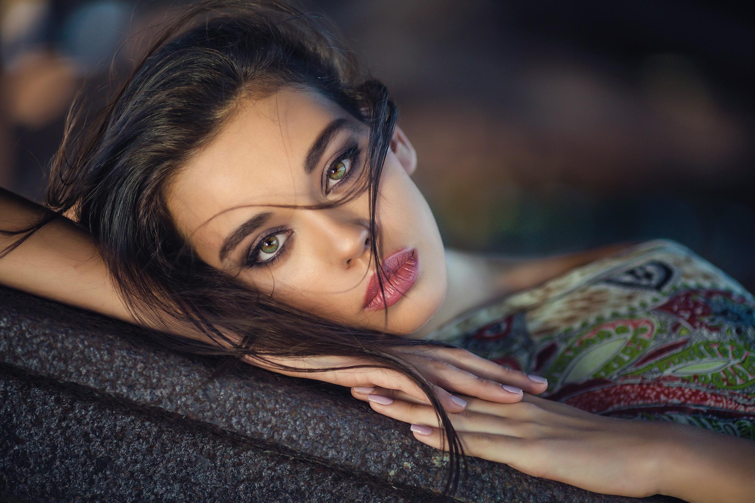 Wallpaper Face Women Depth Of Field Green Eyes Black Hair