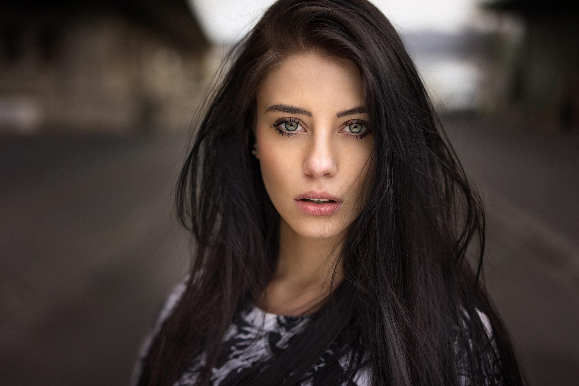 Wallpaper Face Women Model Depth Of Field Long Hair