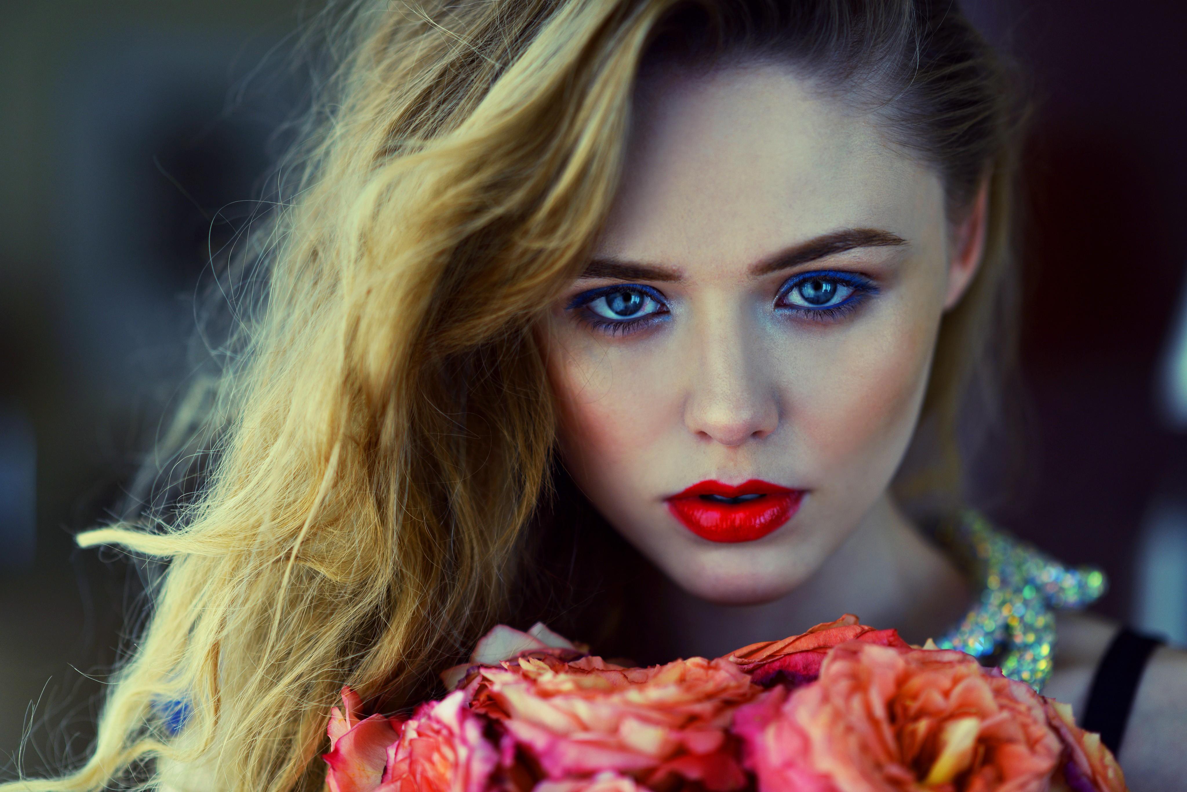 Red Lipstick Brown Hair Blue Eyes: Wallpaper : Face, Women, Model, Flowers, Long Hair, Blue