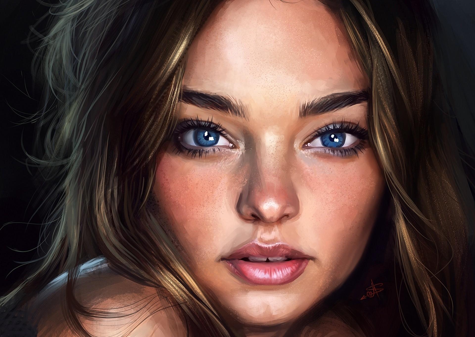 Wallpaper Face Women Model Nose Rings Long Hair: Wallpaper : Face, Women, Model, Long Hair, Artwork, Black