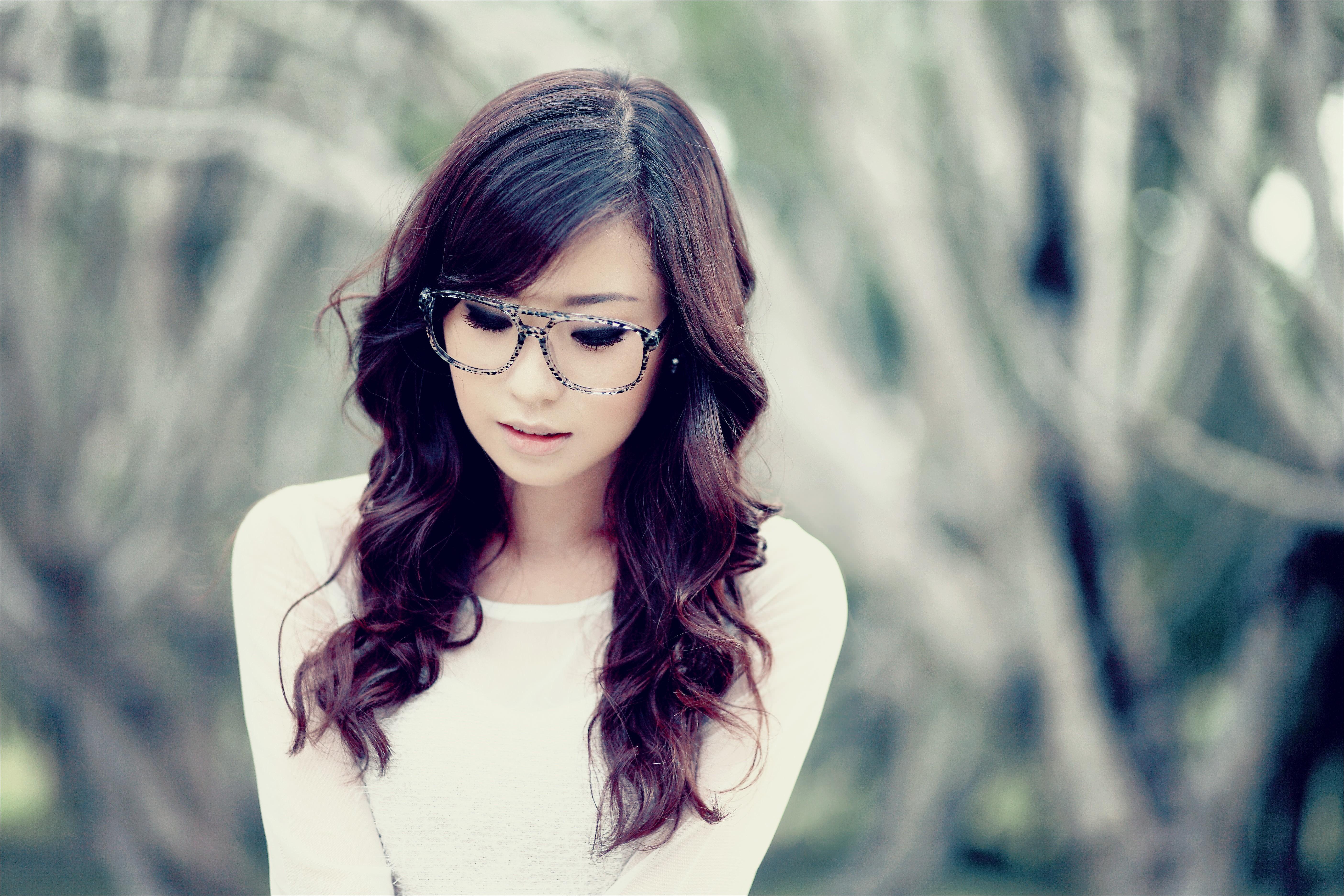 Wallpaper Women Model Long Hair Asian Singer Blue: Wallpaper : Face, Model, Long Hair, Women With Glasses