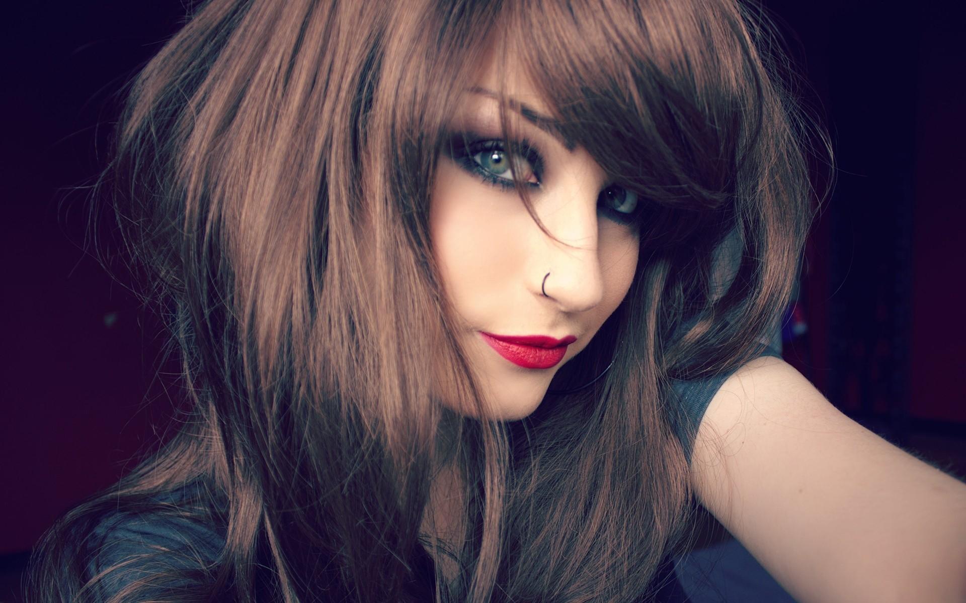 Wallpaper Face Women Model Nose Rings Long Hair Brunette