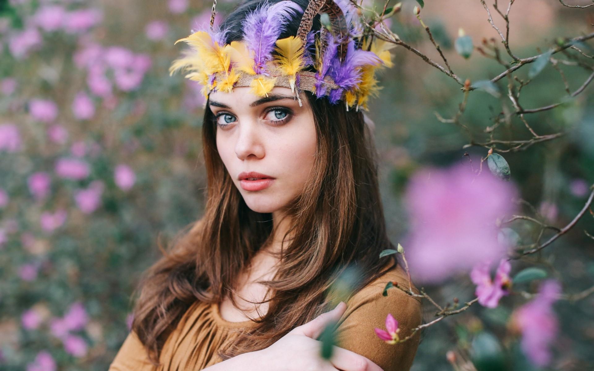 Wallpaper Face Women Outdoors Model Blue Eyes Brunette