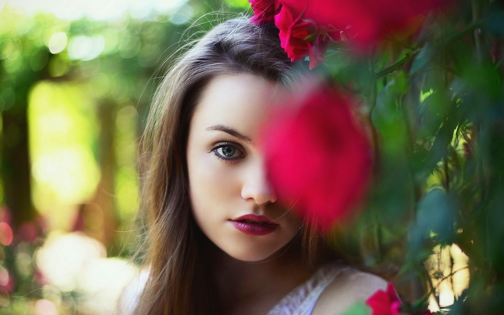 Wallpaper : face, women, model, flowers, long hair, blue