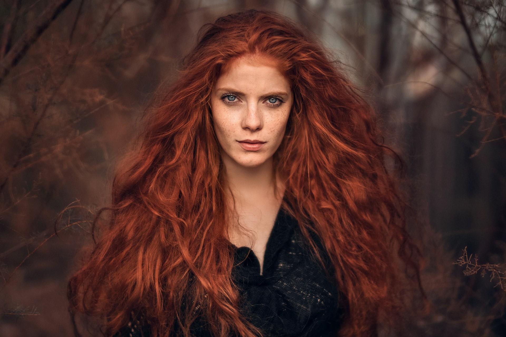 Women Blonde Blue Eyes Long Hair Wavy Hair Portrait: Baggrunde : Ansigt, Kvinder Udendørs, Rødhåret, Model