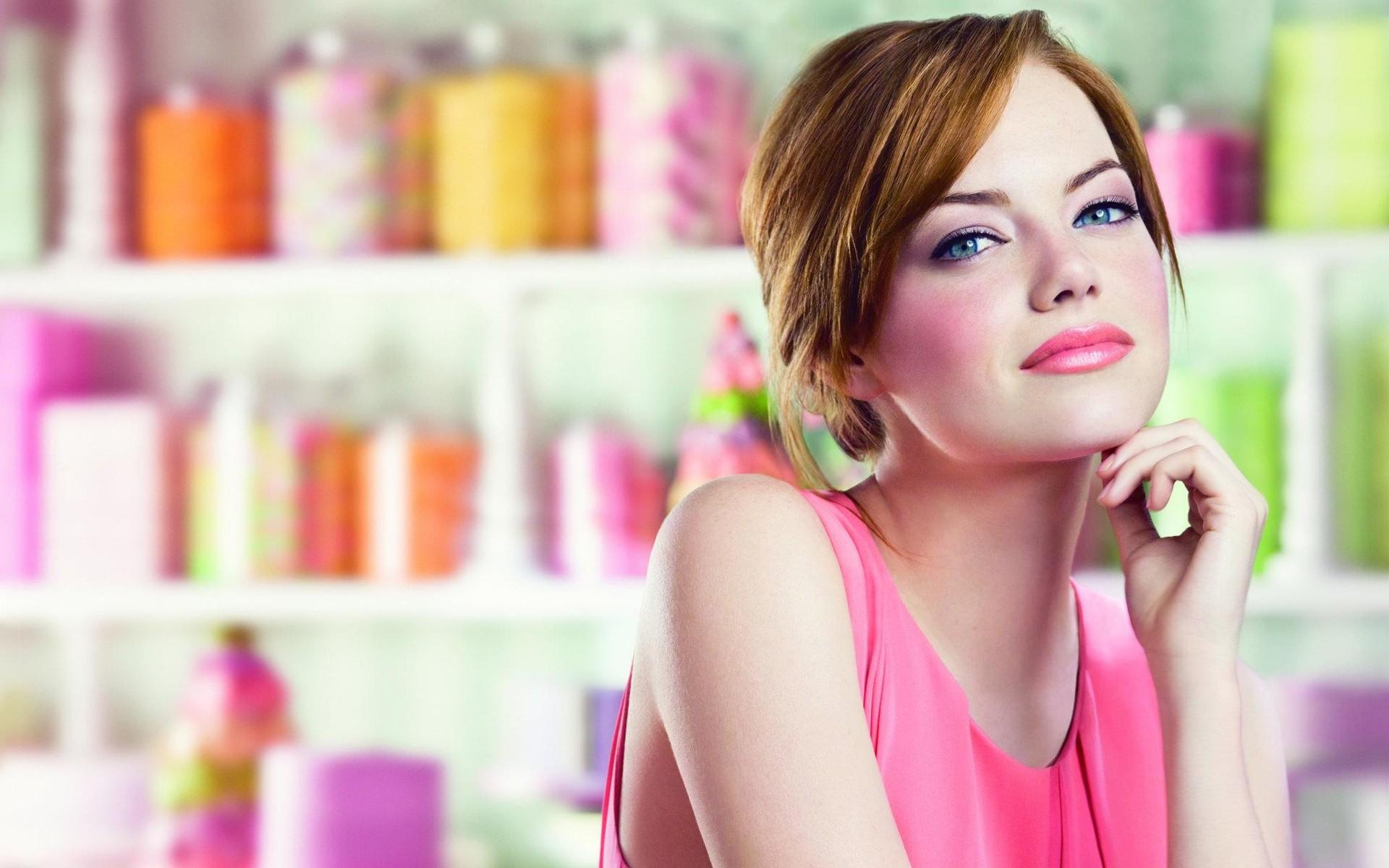 Wallpaper Face Women Redhead Blue Eyes Looking At Viewer