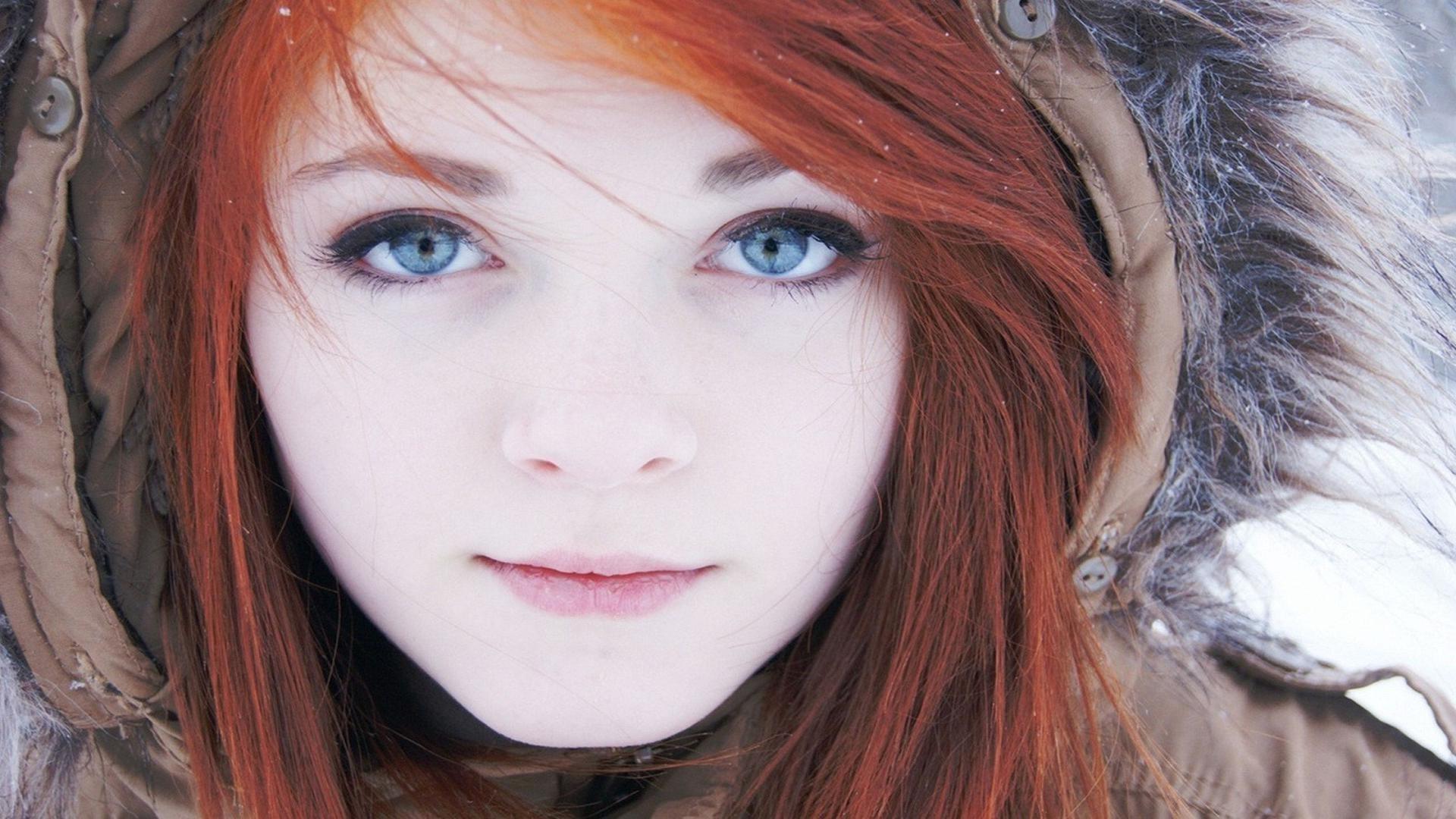 Masaüstü Yüz Kadınlar Kızıl Saçlı Model Portre Mavi Gözlü