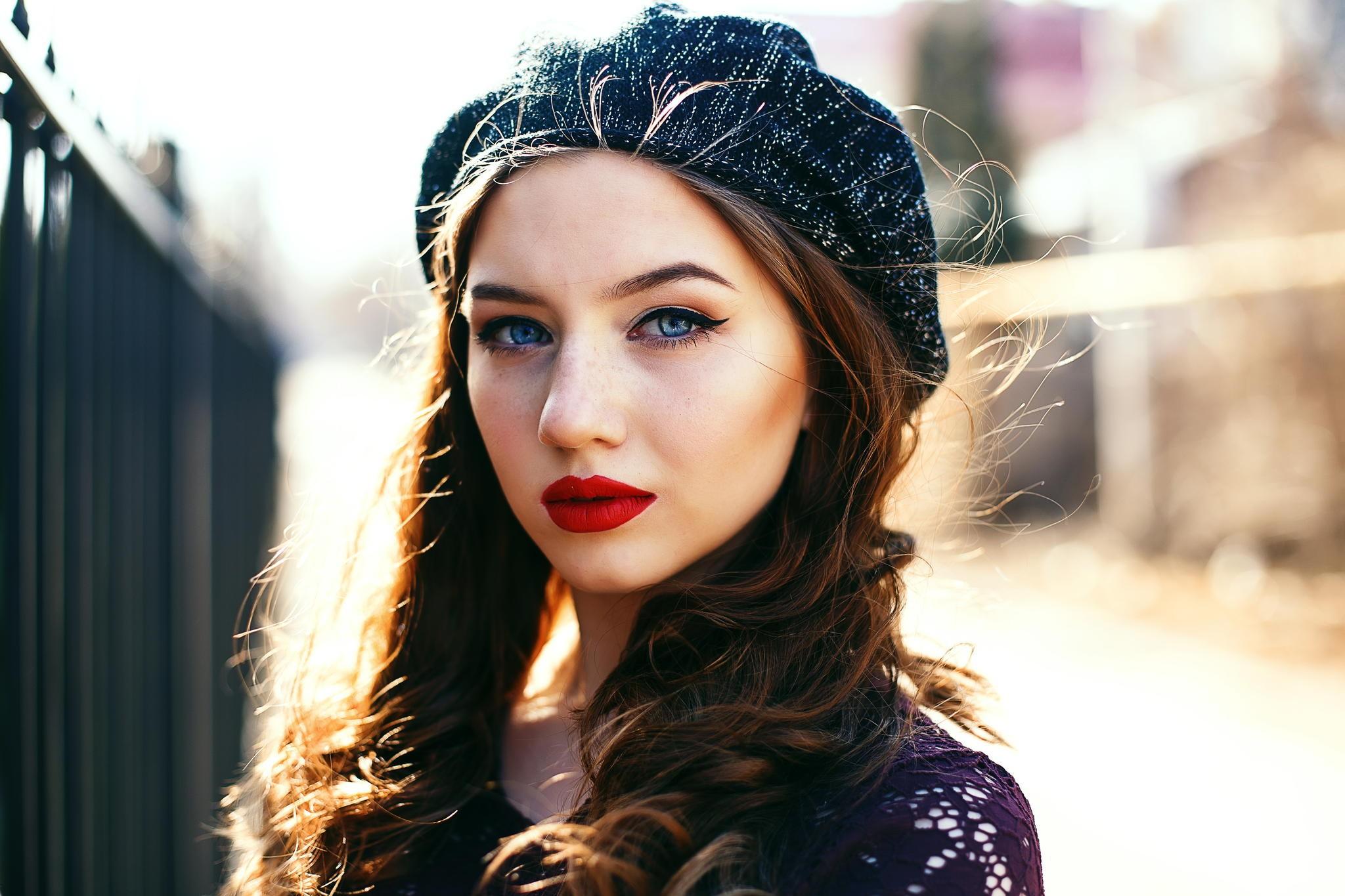Red Lipstick Brown Hair Blue Eyes: Baggrunde : Ansigt, Kvinder, Rødhåret, Model, Portræt