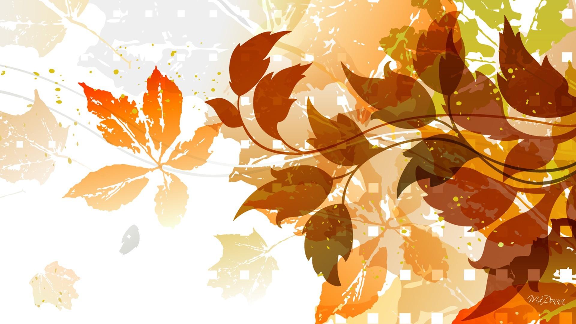 Wallpaper : fall, leaves, illustration, plants, artwork ...