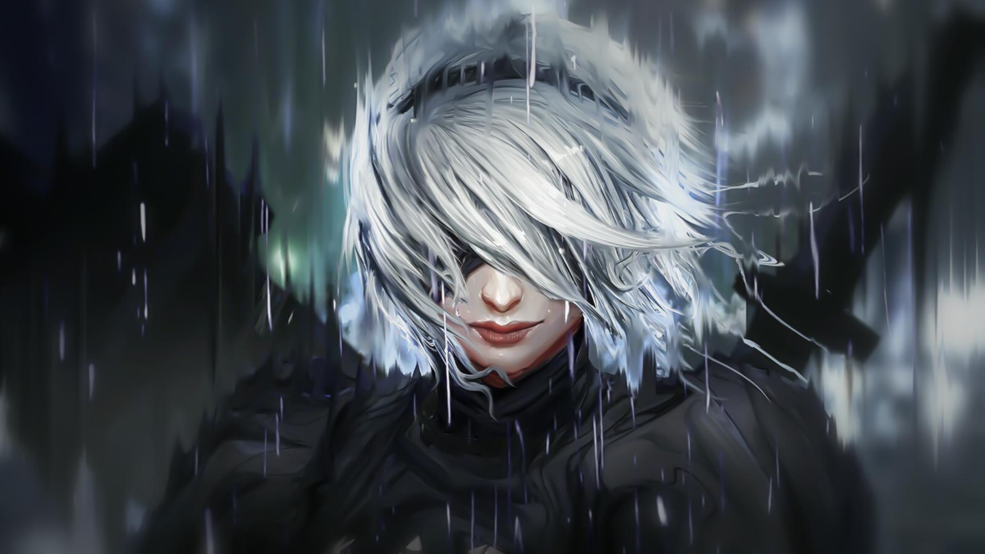 Hình nền : fanart, Mỹ thuật, Backgound, Chủ nghĩa tối giản, Nier Automata, 2B  Nier Automata, kết cấu, Anime cô gái, Cô gái trong mưa, Trò chơi nghệ  thuật, ...