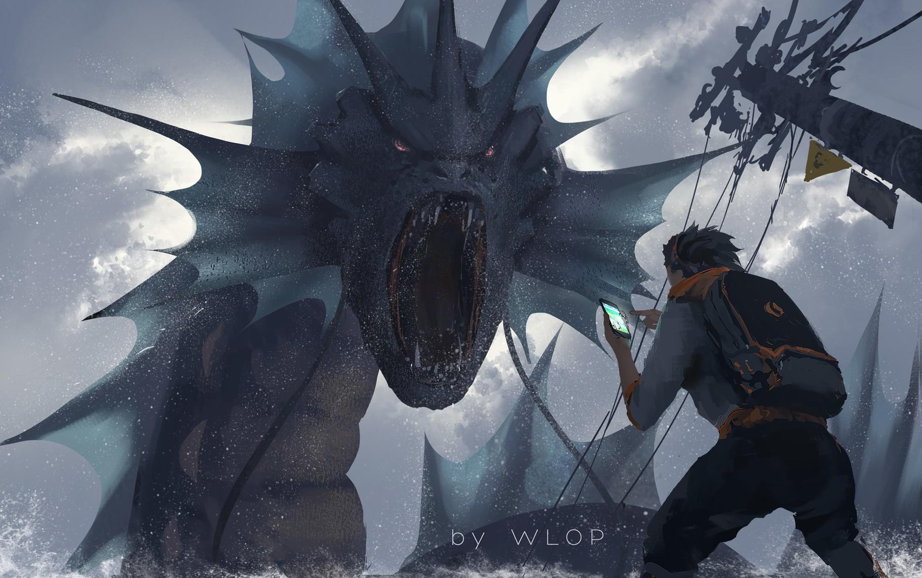 Nghệ thuật tưởng tượng WLOP Pokmon Rồng Pokemon Go Thần thoại Ảnh chụp màn hình Nhân