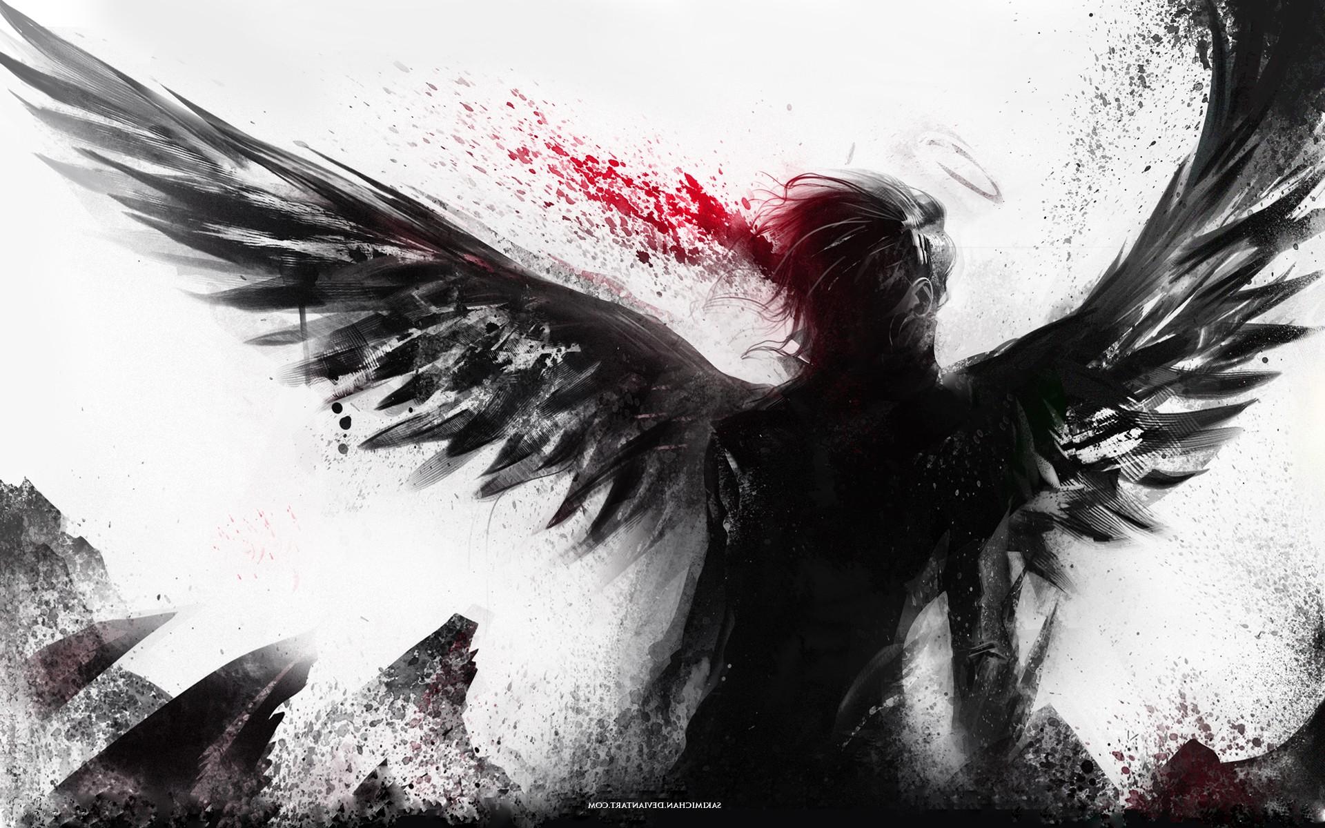 Wallpaper Fantasy Art Abstract Wings Angel Beak Blood