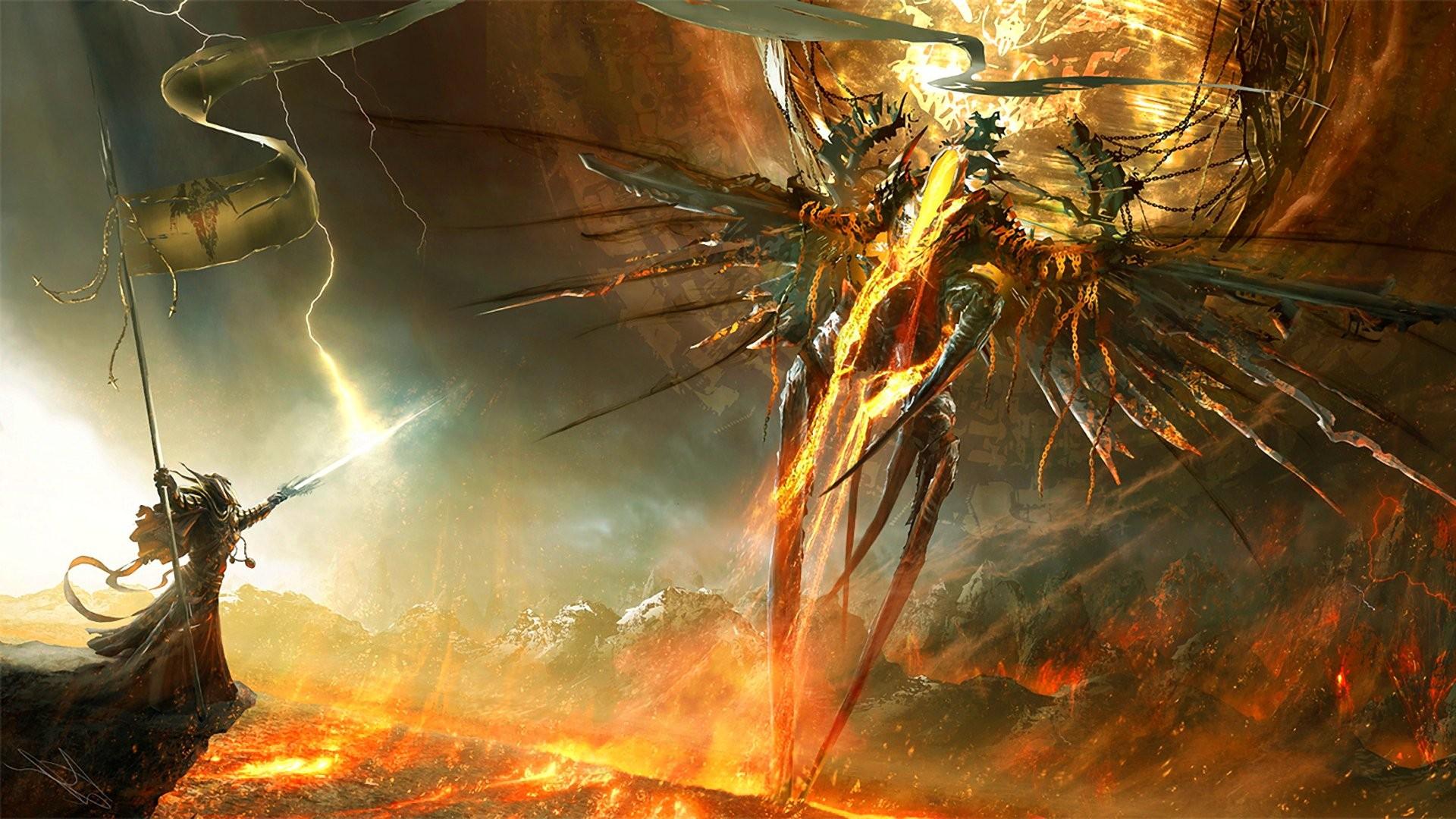 Fantasy Art Angel Fire Fan Demon Diablo III Screenshot Computer Wallpaper Special Effects